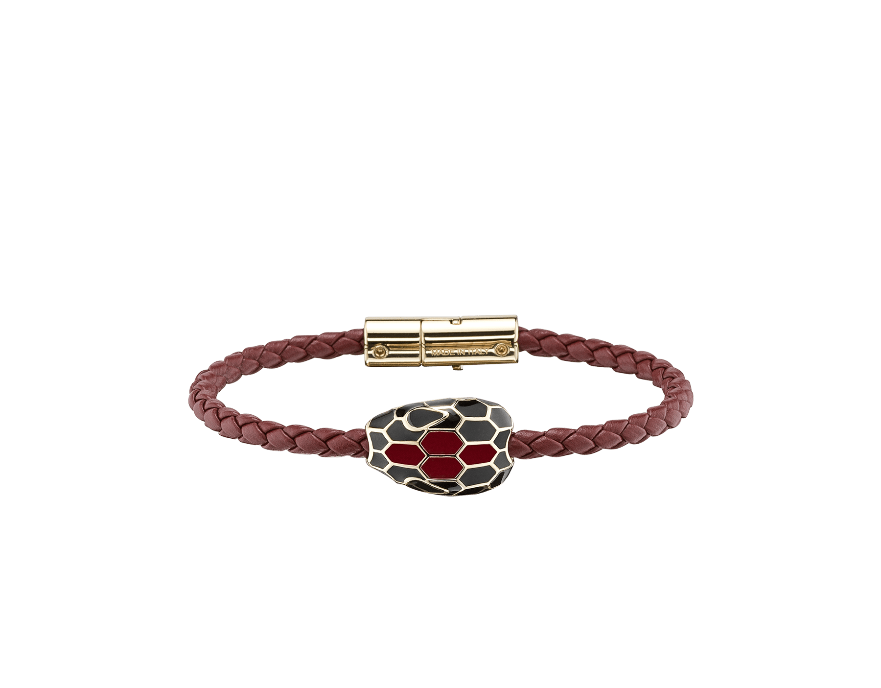 Serpenti Forever braid bracelet in ruby red woven calf leather with an iconic snakehead décor in black and ruby red enamel. SerpBraid-WCL-RR image 1