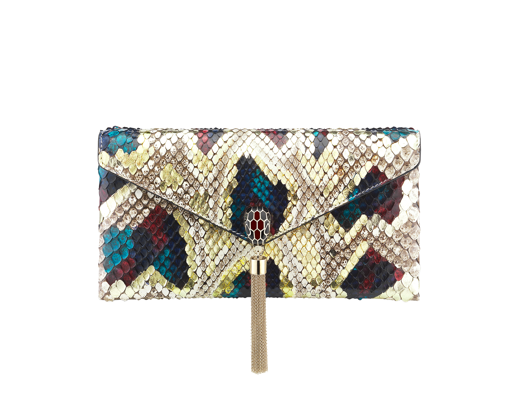 """""""Serpenti"""" evening clutch bag in white agate Lunar python skin. Iconic snakehead stud closure with tassel in light gold plated brass enriched with black and roman garnet enamel and black onyx eyes. 288485 image 1"""