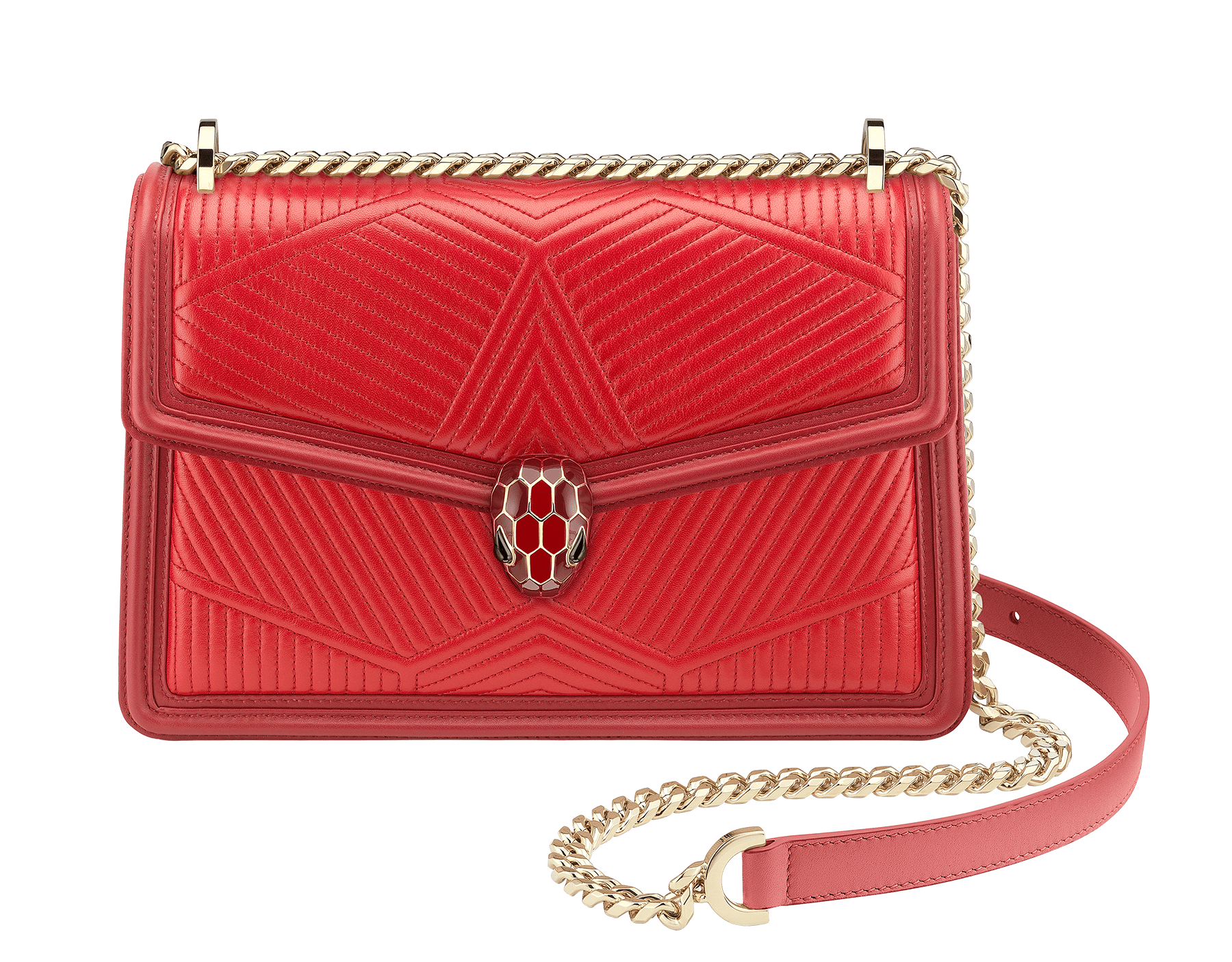 """Serpenti Diamond Blast"" shoulder bag in carmine jasper quilted nappa leather body and ruby red calf leather frames. Iconic snakehead closure in light gold plated brass enriched with carmine jasper and ruby red enamel and black onyx eyes 287190 image 1"