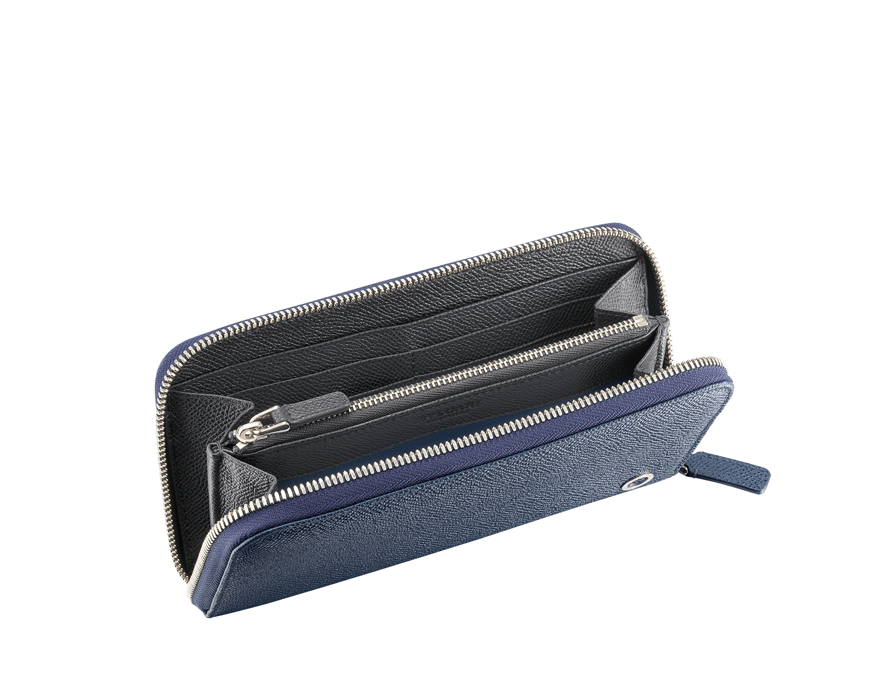 BVLGARI BVLGARI men's zipped wallet in denim sapphire and charcoal diamond grain calf leather and blue slate nappa lining. Iconic logo décor in palladium plated brass. 289102 image 2