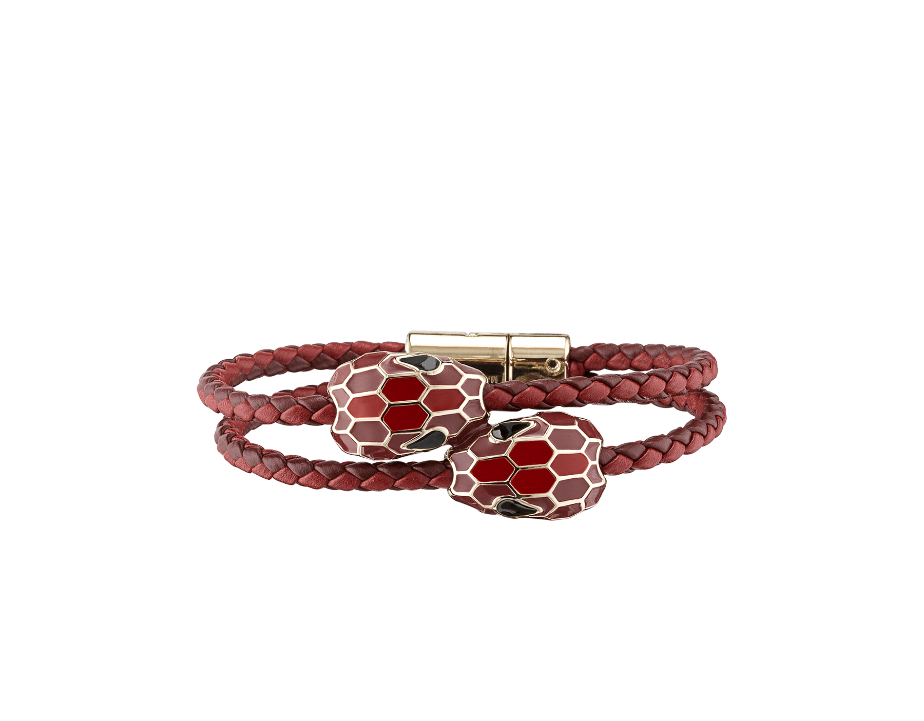 Serpenti Forever double braid bracelet in ruby red and carmine jasper woven calf leather with a double snakehead décor in ruby red and carmine jasper enamel. NewDoubleBraid-WCL-RRCJ image 1