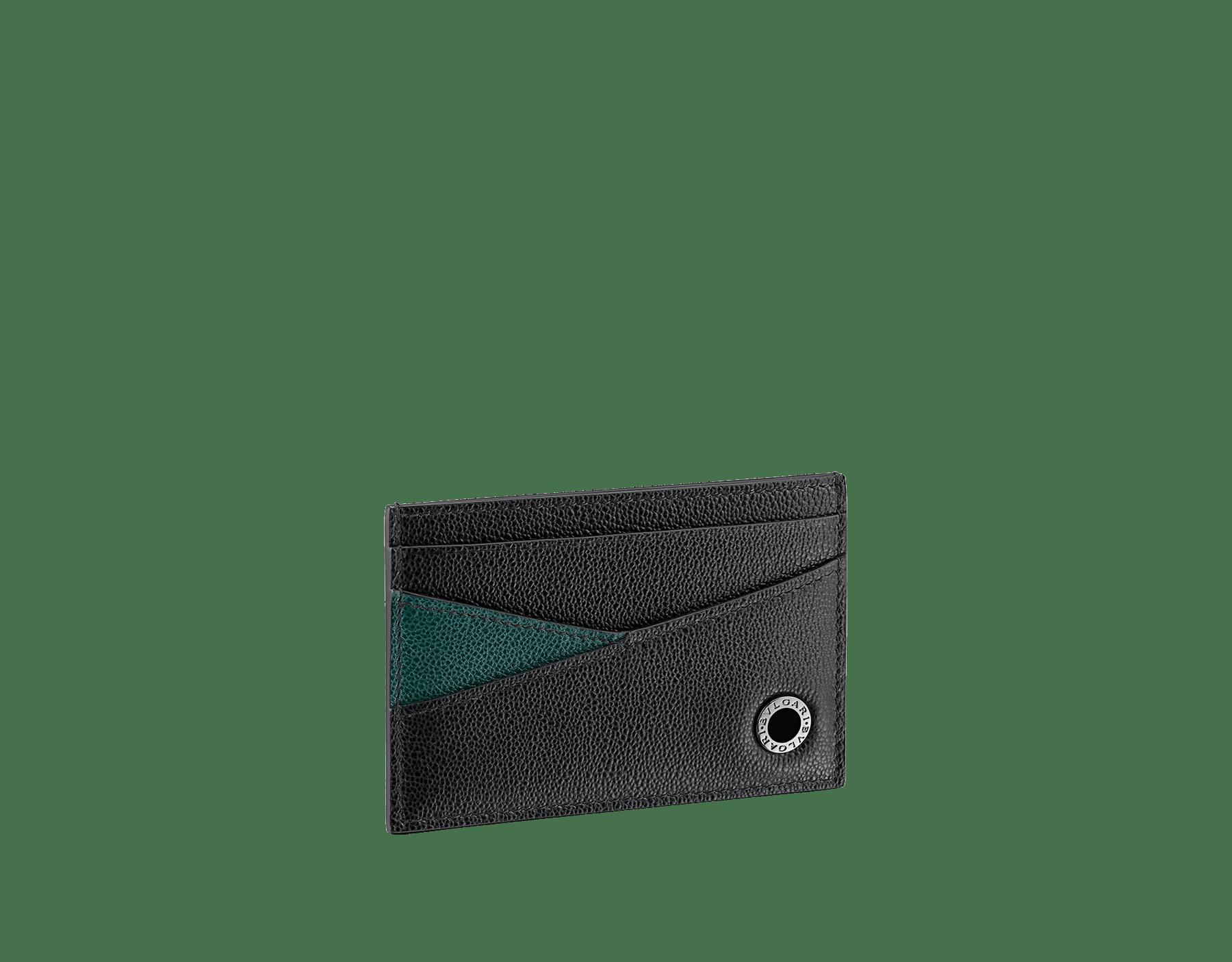 """BVLGARI BVLGARI"" men's card holder in black and Forest Emerald green ""Urban"" grain calf leather. Iconic logo embellishment in dark ruthenium-plated brass with black enameling. BBM-CCHOLDERASYM image 1"