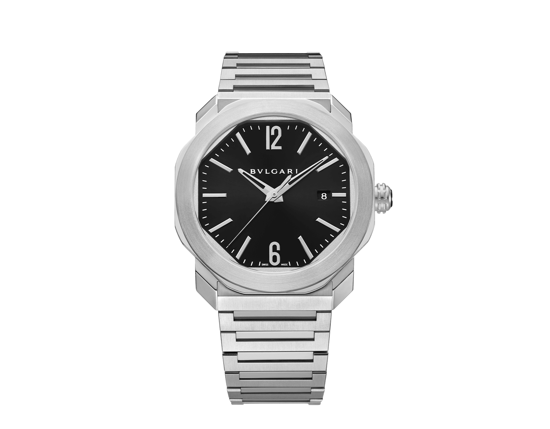 Montre Octo Roma avec mouvement mécanique de manufacture, remontage automatique, boîtier et bracelet en acier inoxydable, cadran laquénoir. 102704 image 1