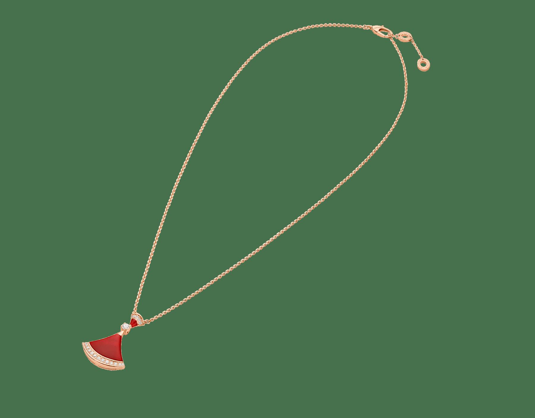 DIVAS' DREAM 18 kt rose gold necklace set with carnelian elements, a round brilliant-cut diamond and pavé diamonds. 356437 image 2