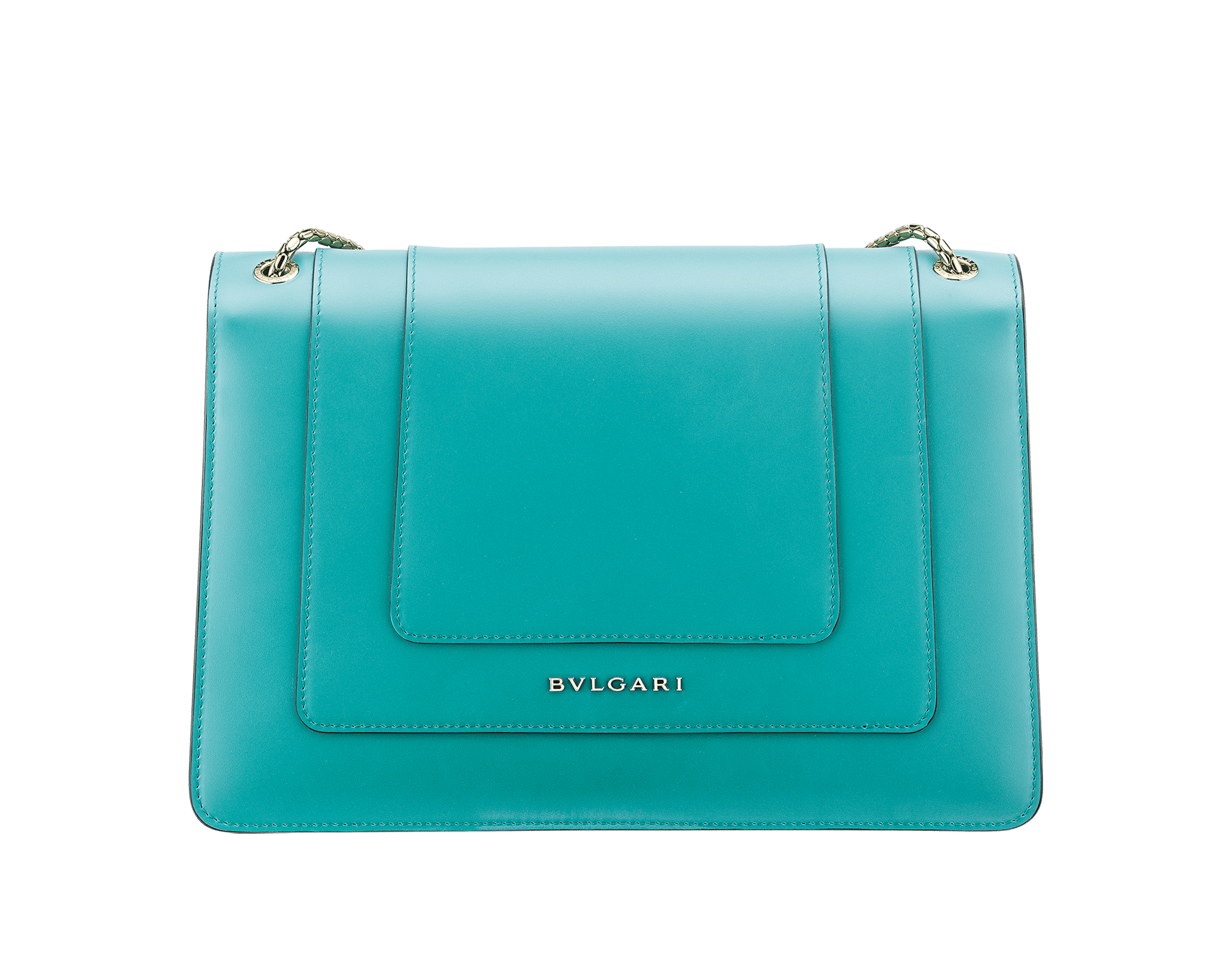 Serpenti Forever shoulder bag in arctic jade calf leather. Iconic snakehead closure in light gold plated brass embellished with black and white enamel and green malachite eyes. 288701 image 3