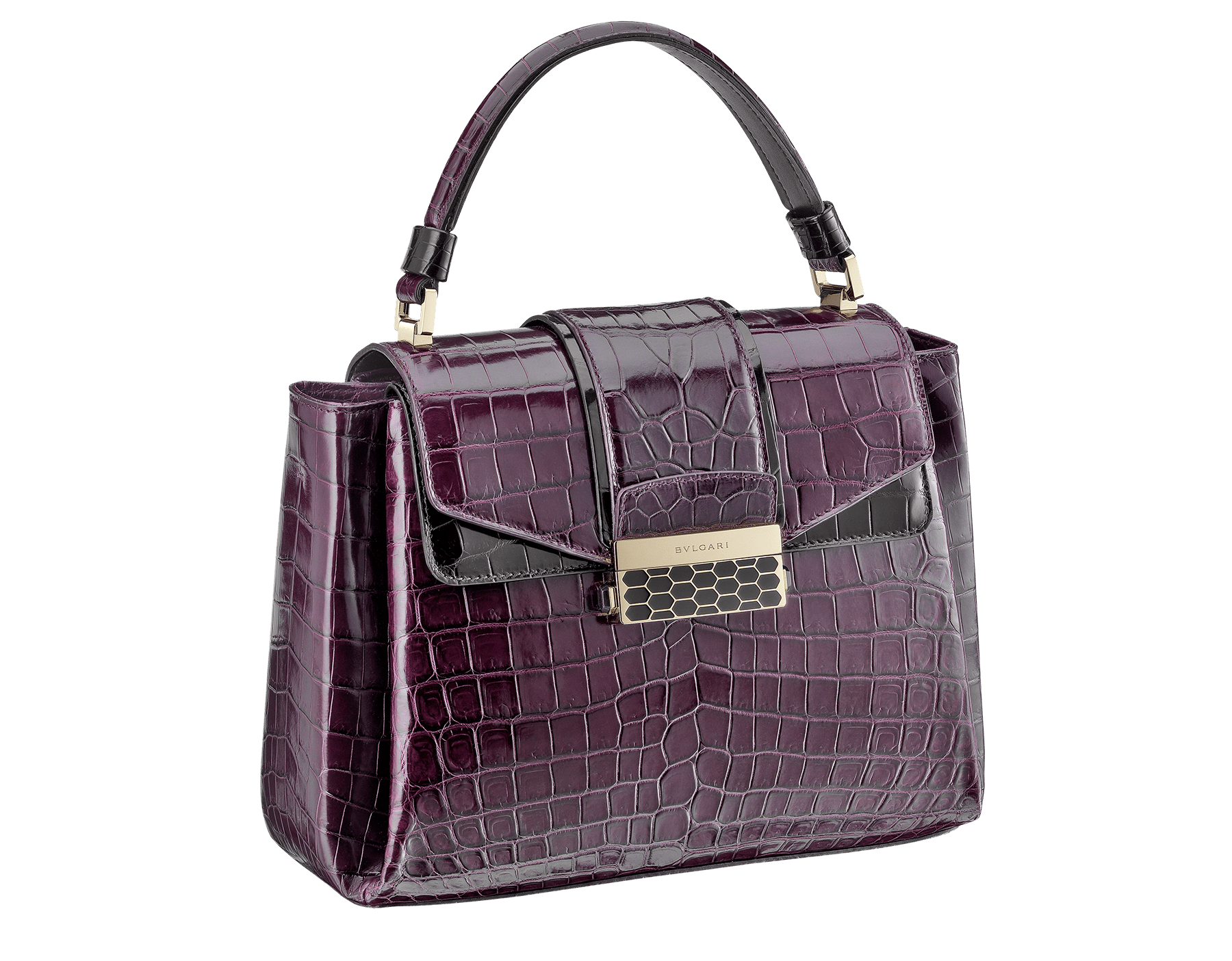 Top handle bag Serpenti Viper in plum amethyst and black shiny crocodile skin. Brass light gold plated hardware and snap closure in black shiny enamel, with iconic Scaglie design. 281775 image 2
