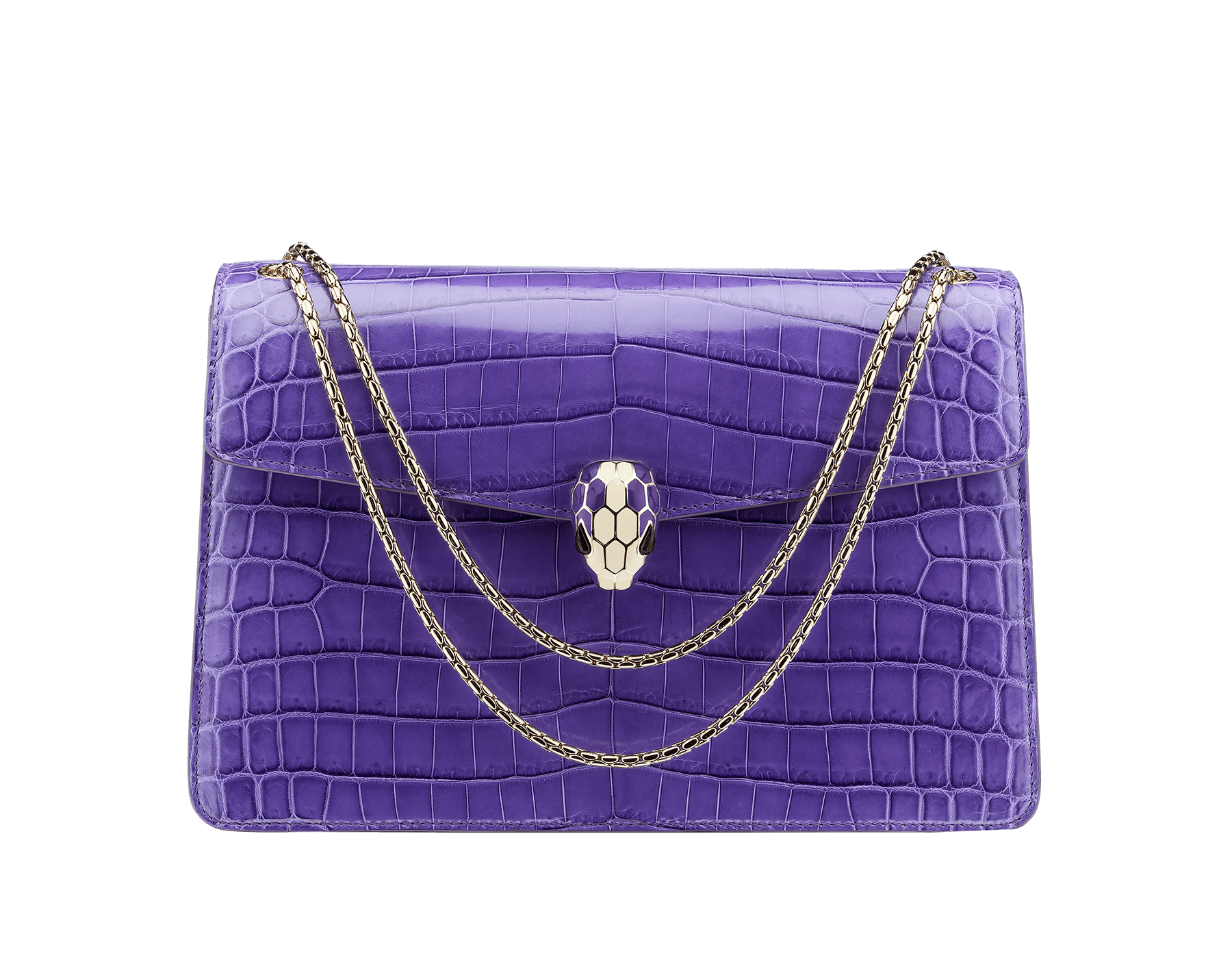 Flap cover bag Serpenti Forever in violet amethyst shiny crocodile skin with brass light gold plated Serpenti head closure in white and violet amethyst enamel with eyes in black onyx. Small size with two gussets, various internal pockets and snake body-shaped chain. Internal metal tag featuring the Bulgari logo, and pocket mirror. Also available in other colours. 28 x 19 x 7,5 cm. - 11 x 7.5 x 2.9 521-CRa image 1