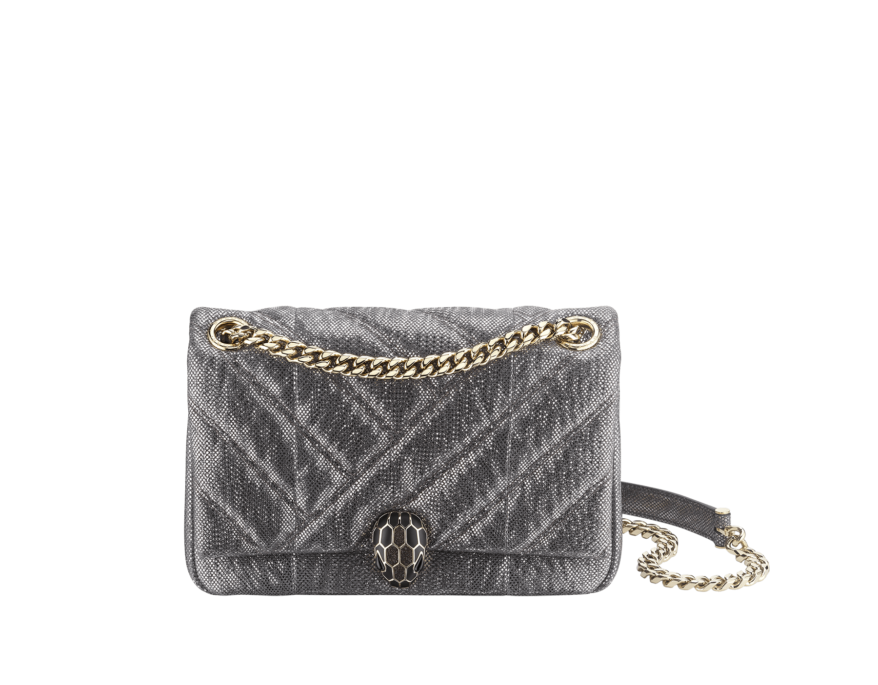 Serpenti Cabochon shoulder bag in soft matelassé charcoal diamond metallic karung skin with graphic motif. Snakehead closure in light gold plated brass decorated with matte black and glitter charcoal diamond enamel, and black onyx eyes. 290237 image 1