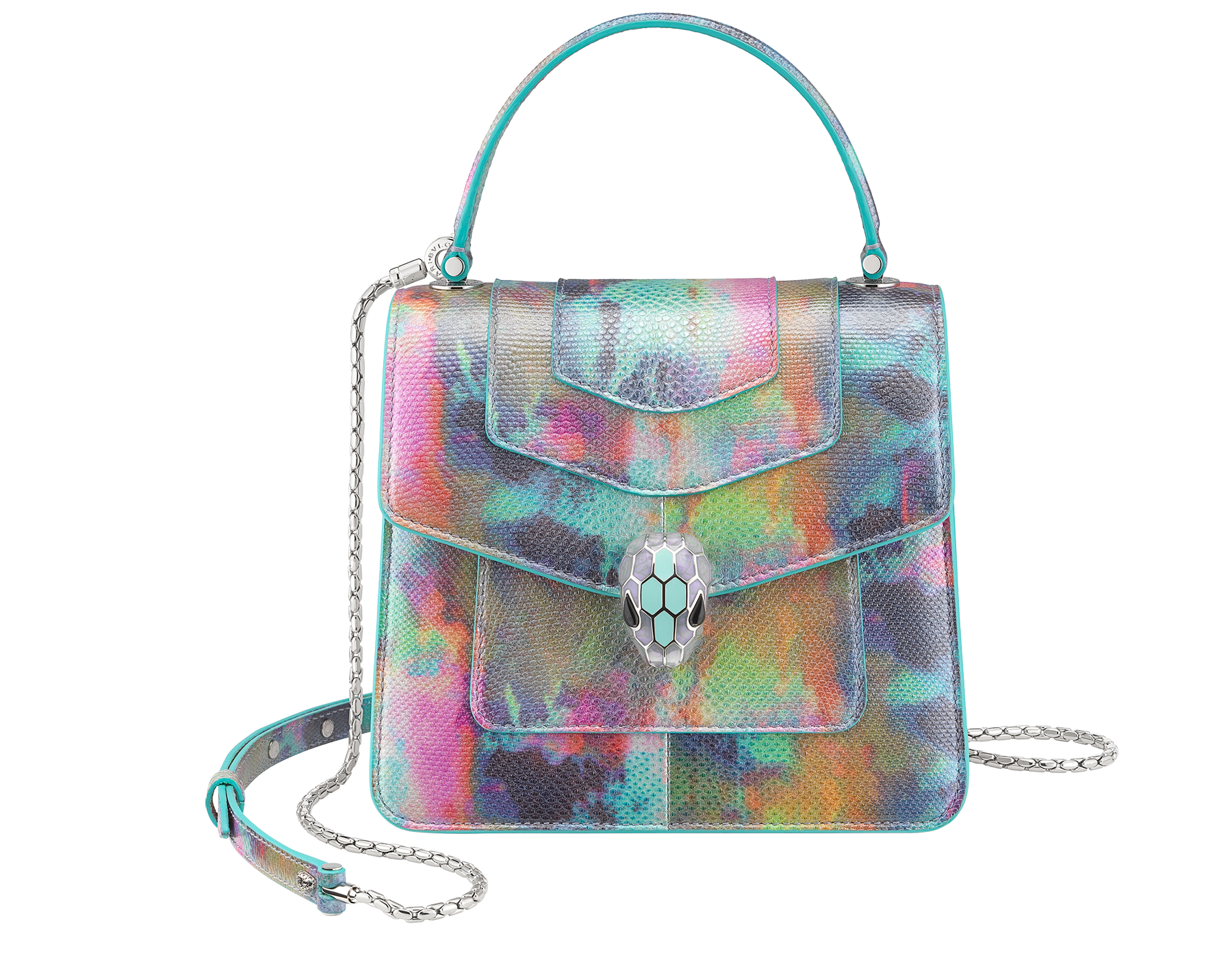 """""""Serpenti Forever """" top handle bag in Forest Emerald green shiny karung skin with Zircon bay blue gros grain internal lining. Iconic snakehead closure in light gold plated brass enriched with black and white agate enamel and green malachite eyes 1122-SK image 1"""