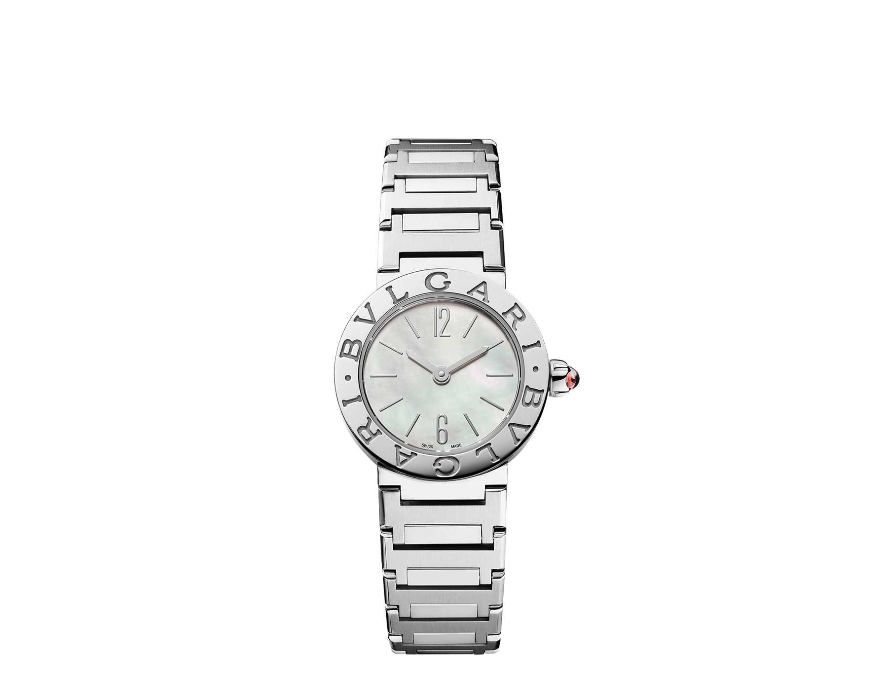 BVLGARI BVLGARI watch in stainless steel case and bracelet, stainless steel bezel engraved with double logo and mother-of-pearl dial 103217 image 1