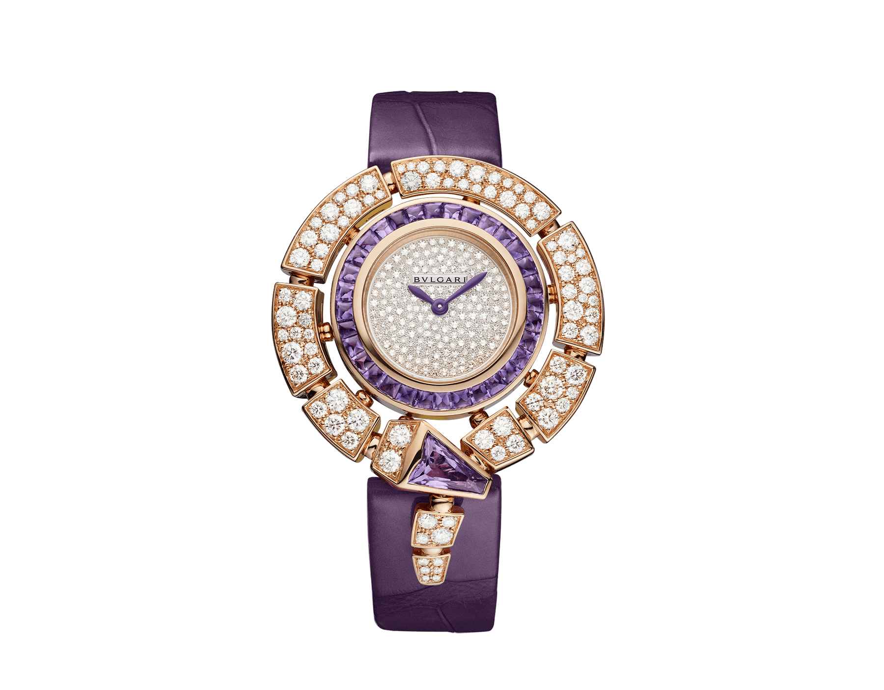 Serpenti Incantati watch with 18 kt rose gold case set with round brilliant-cut diamonds and a fancy-shaped amethyst, 18 kt rose gold bezel set with buff-cut amethysts, snow pavé dial and purple alligator bracelet 103125 image 1