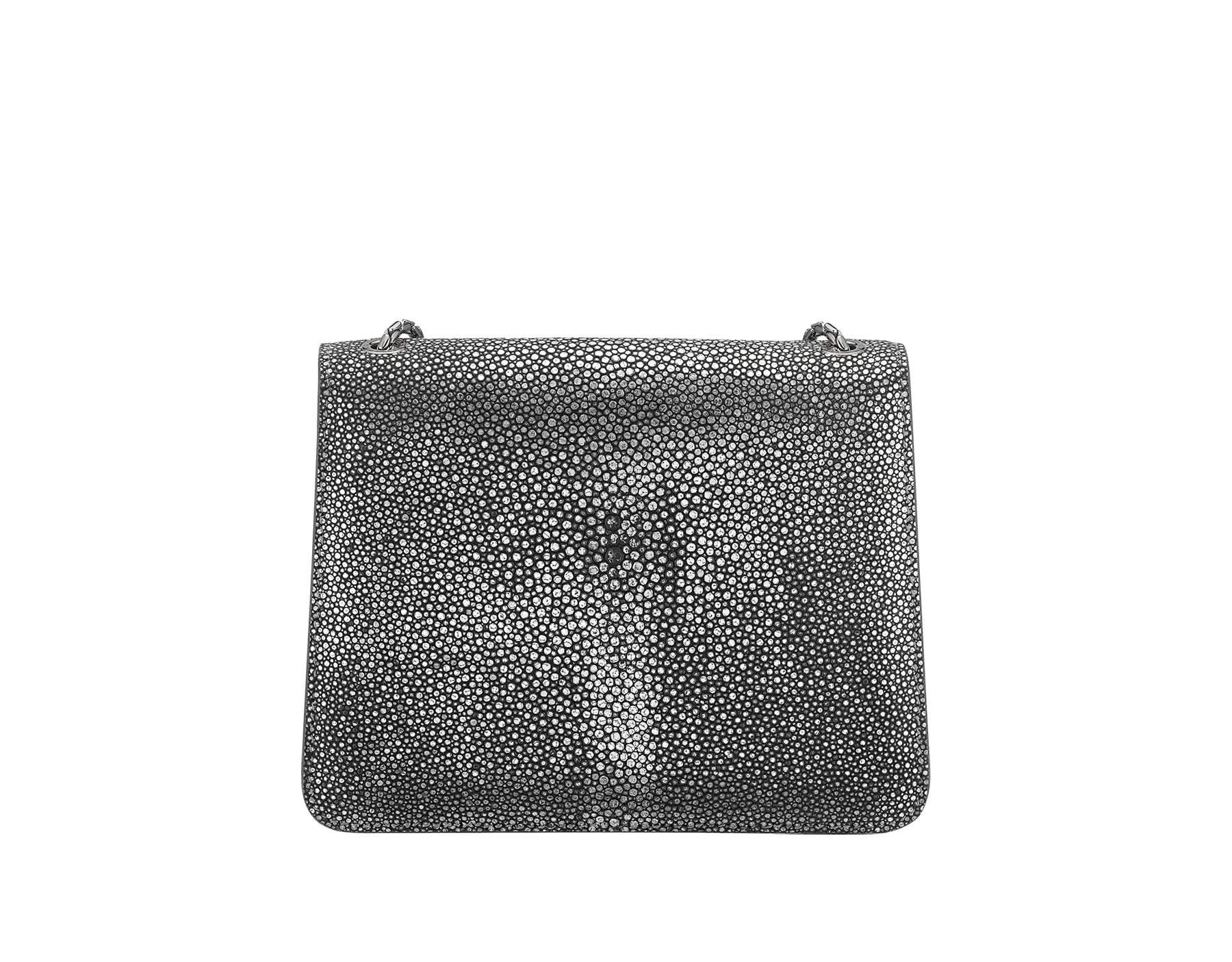 """Serpenti Forever"" crossbody bag in charcoal diamond crystal galuchat skin. Iconic snake head closure in palladium plated brass enriched with black enamel and black onyx eyes. 288995 image 3"