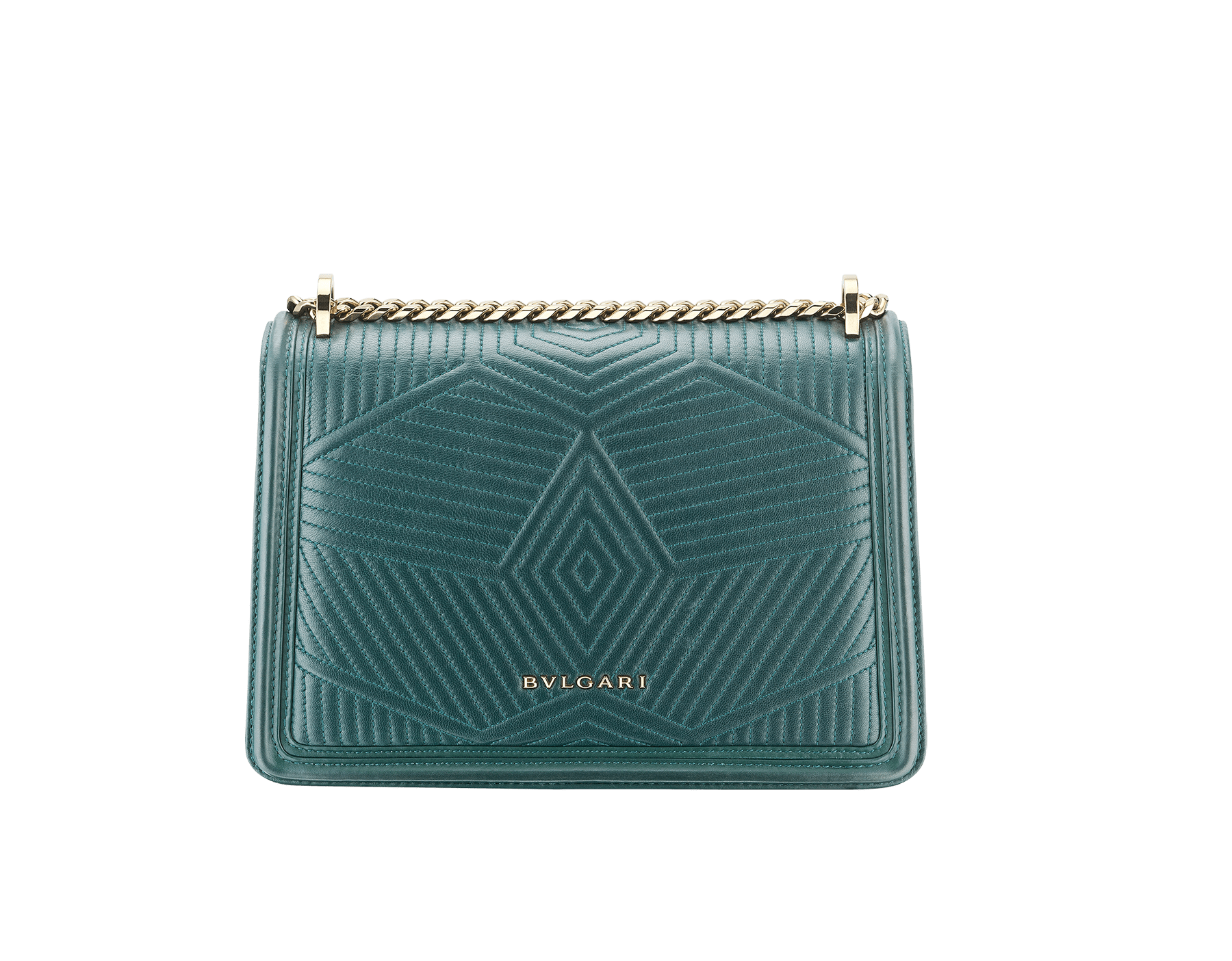 Serpenti Diamond Blast shoulder bag in forest emerald quilted nappa leather body and forest emerald calf leather frames. Snakehead closure in light gold plated brass decorated with forest emerald and black enamel, and black onyx eyes. 287850 image 3