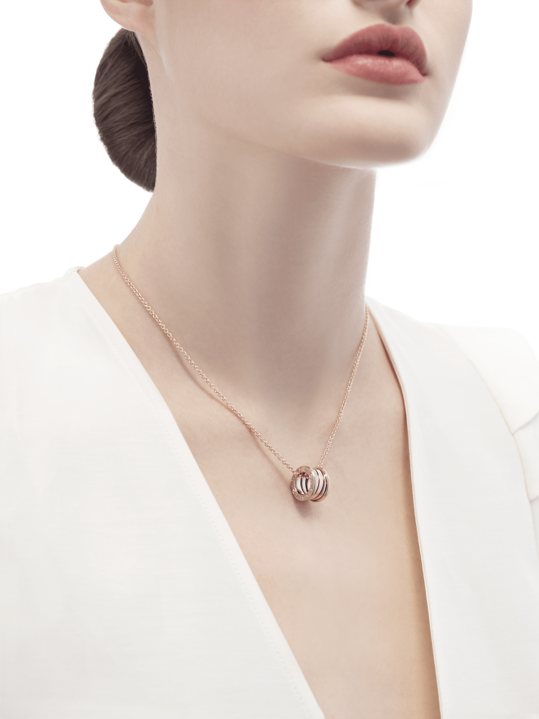 B.zero1 necklace with 18 kt rose and white gold pendant, 18 kt rose gold chain. 354903 image 4
