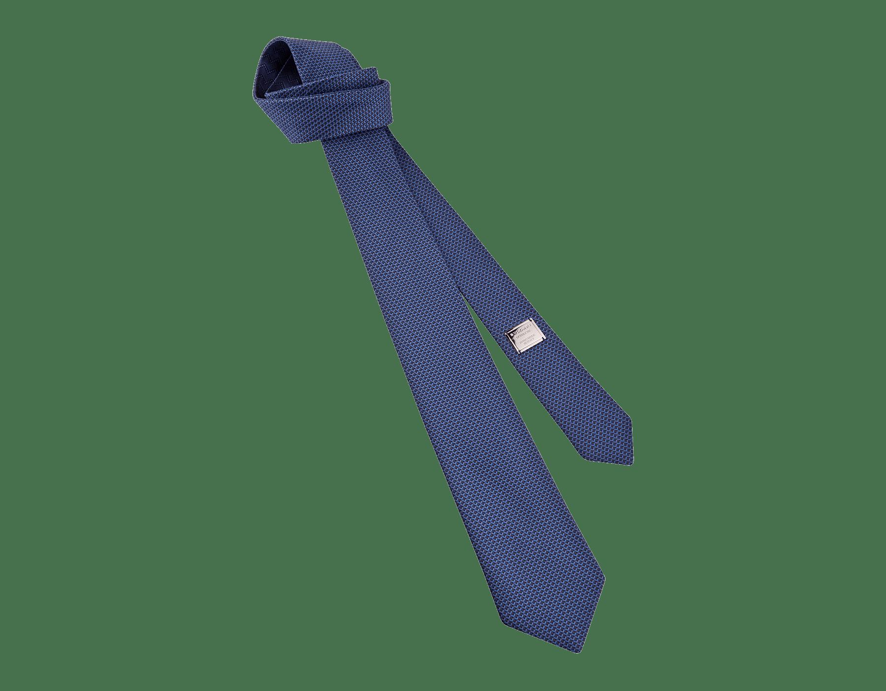Navy Double Peak pattern tie in fine silk. 243442 image 1
