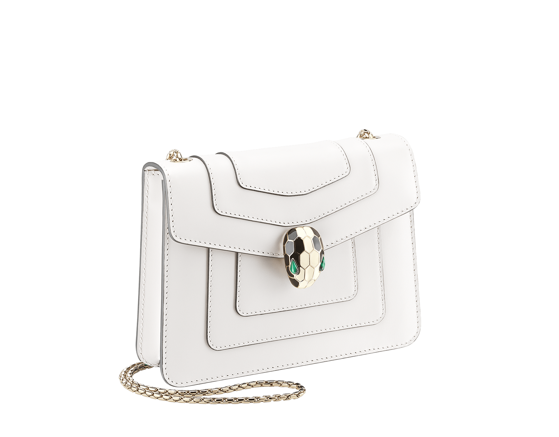 Flap cover bag Serpenti Forever in white agate calf leather. Brass light gold plated snake head closure in black and white enamel with eyes in green malachite. 283167 image 2