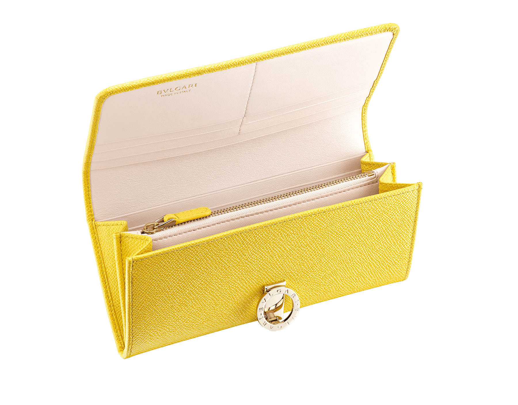 """BVLGARI BVLGARI"" large wallet in taffy quartz bright grain calf leather and berry tourmaline nappa leather. Iconic logo clip closure in light gold plated brass. 579-WLT-SLI-POC-CLb image 2"