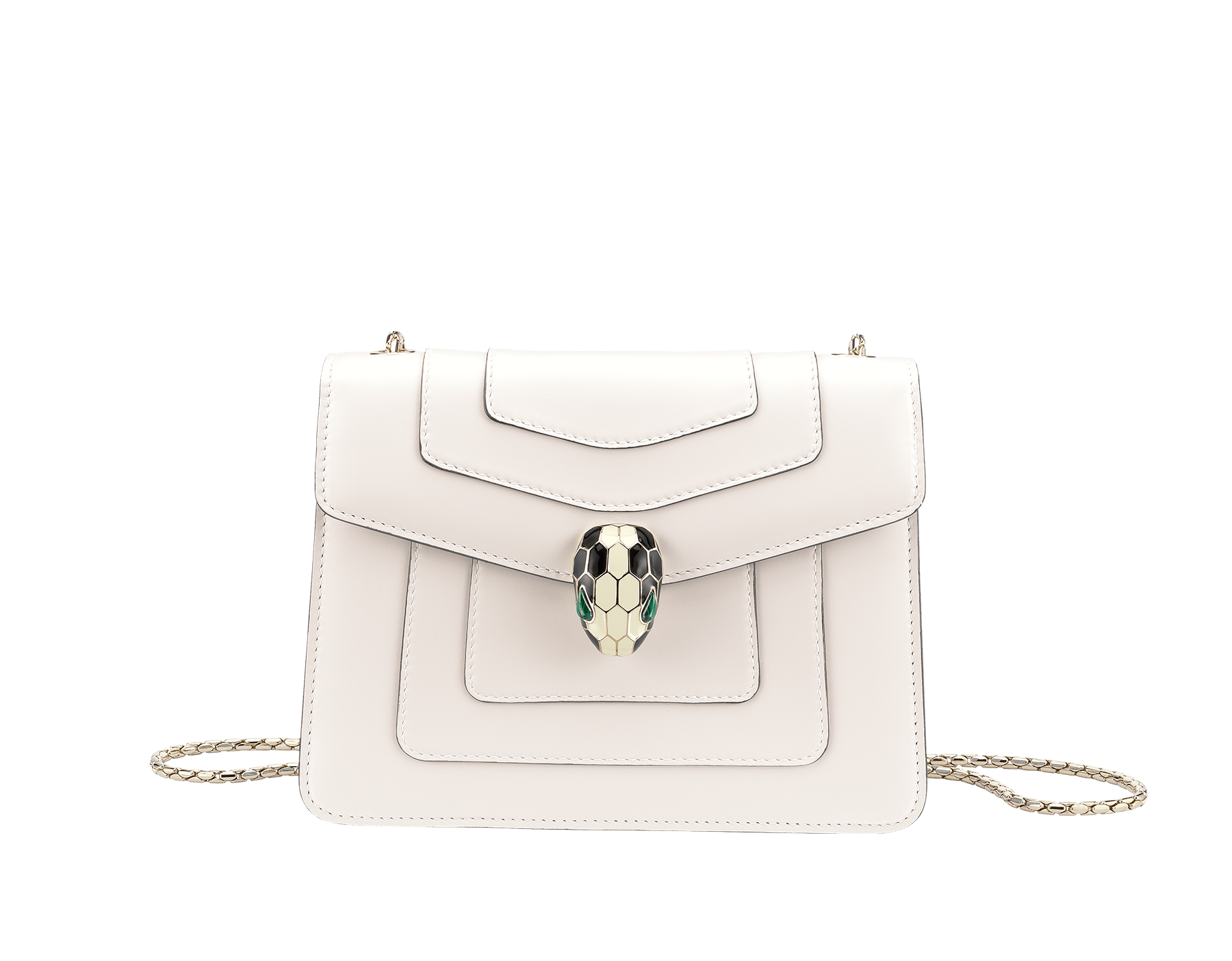 Flap cover bag Serpenti Forever in white agate calf leather. Brass light gold plated snake head closure in black and white enamel with eyes in green malachite. 283167 image 1