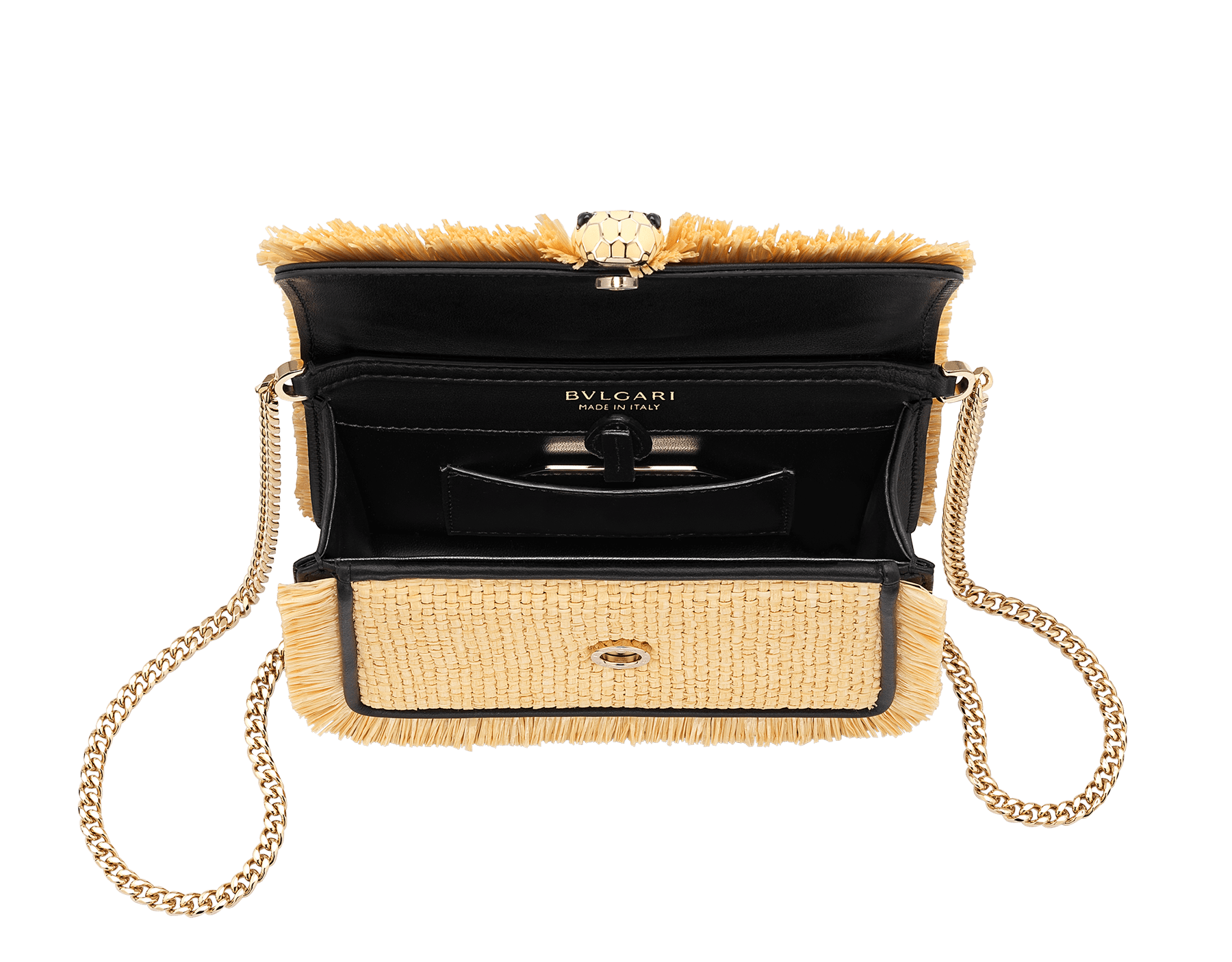 """Serpenti Diamond Blast"" crossbody mini bag in beige raffia body, Rosa di Francia pink calf leather frames finished with beige raffia fringes, and Rosa di Francia pink nappa leather internal lining. Alluring snakehead closure in light gold-plated brass enhanced with full matte Natural beige enamel and black onyx eyes. Online Exclusive 520 Special Edition. 290961 image 4"