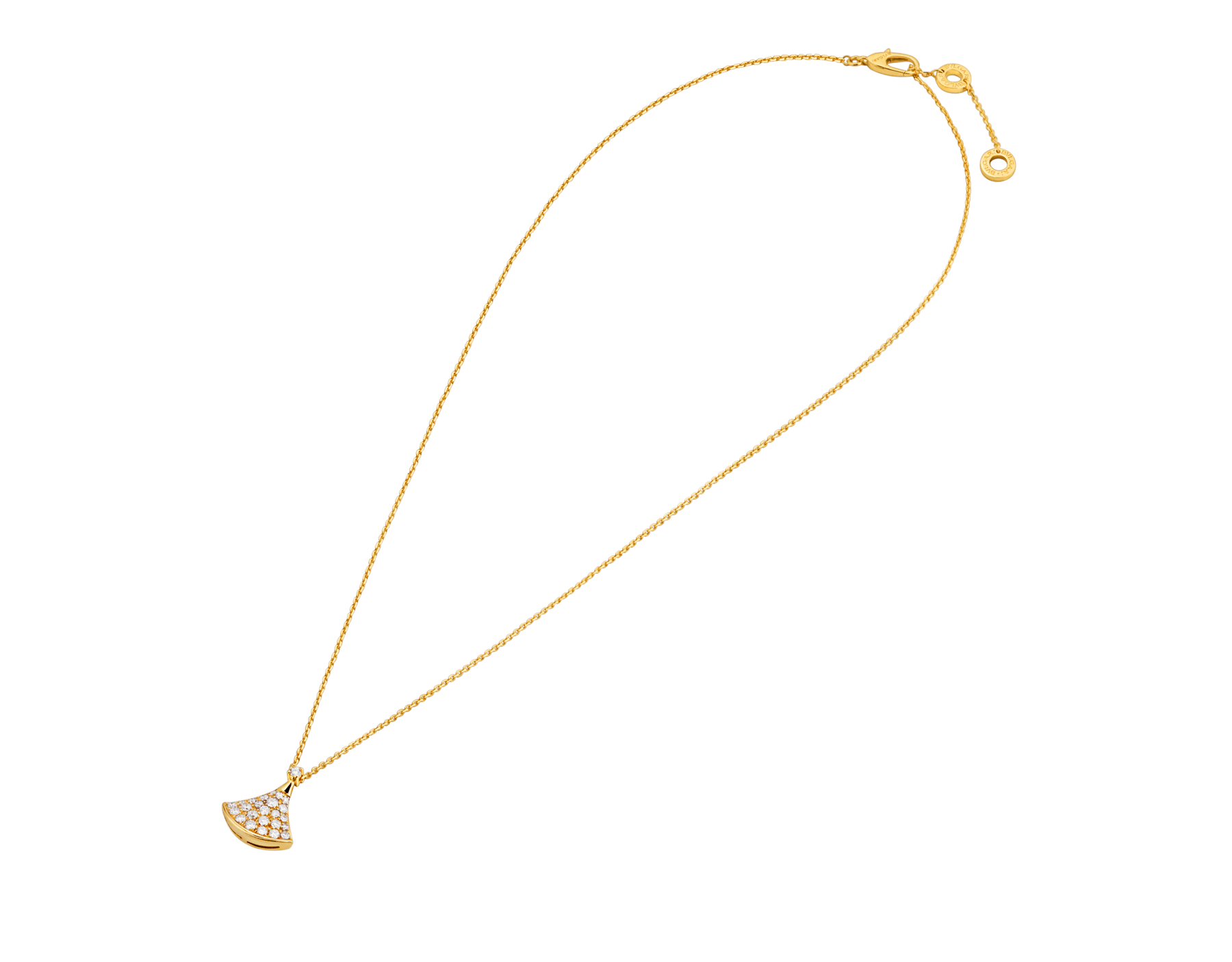 DIVAS' DREAM 18 kt yellow gold necklace with pendant set with one diamond and pavé diamonds 357511 image 2