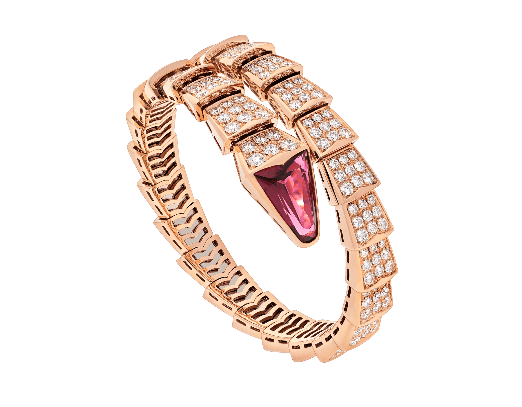 Serpenti one-coil bracelet in 18 kt rose gold, set with full pavé diamonds and a rubellite on the head. BR856126 image 1