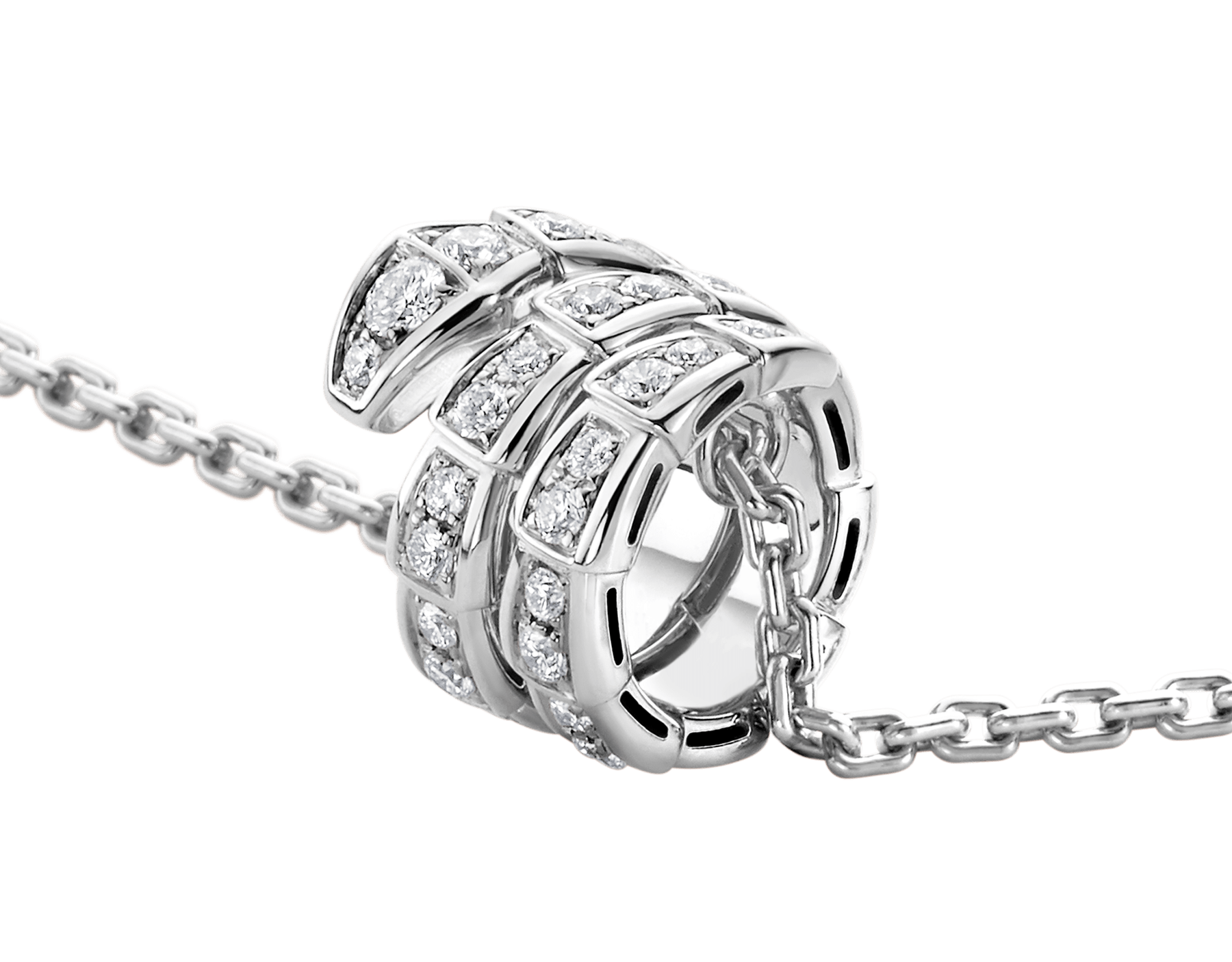 Serpenti Viper pendant necklace in 18 kt white gold set with pavé diamonds 357796 image 3