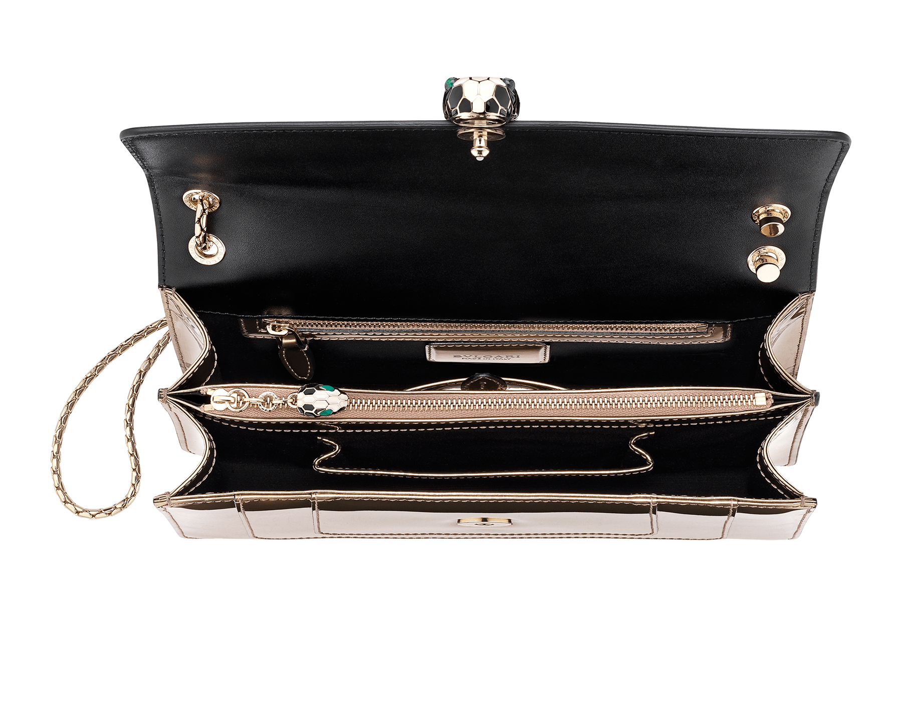 Flap cover bag Serpenti Forever in antique bronze brushed metallic calf leather with brass light gold plated Serpenti head closure in black and white enamel with eyes in green malachite. 39794 image 4