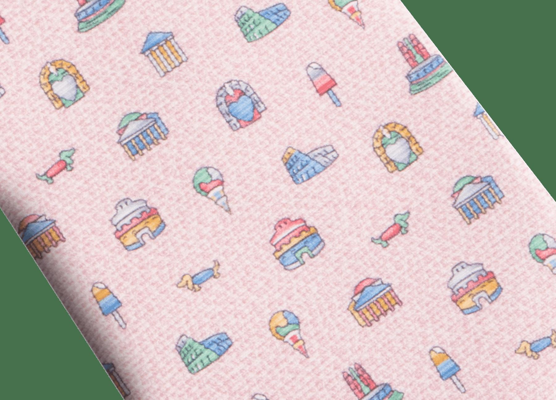 """Pink """"Città Eterna"""" seven-folds tie in fine saglione printed silk. 244354 image 2"""