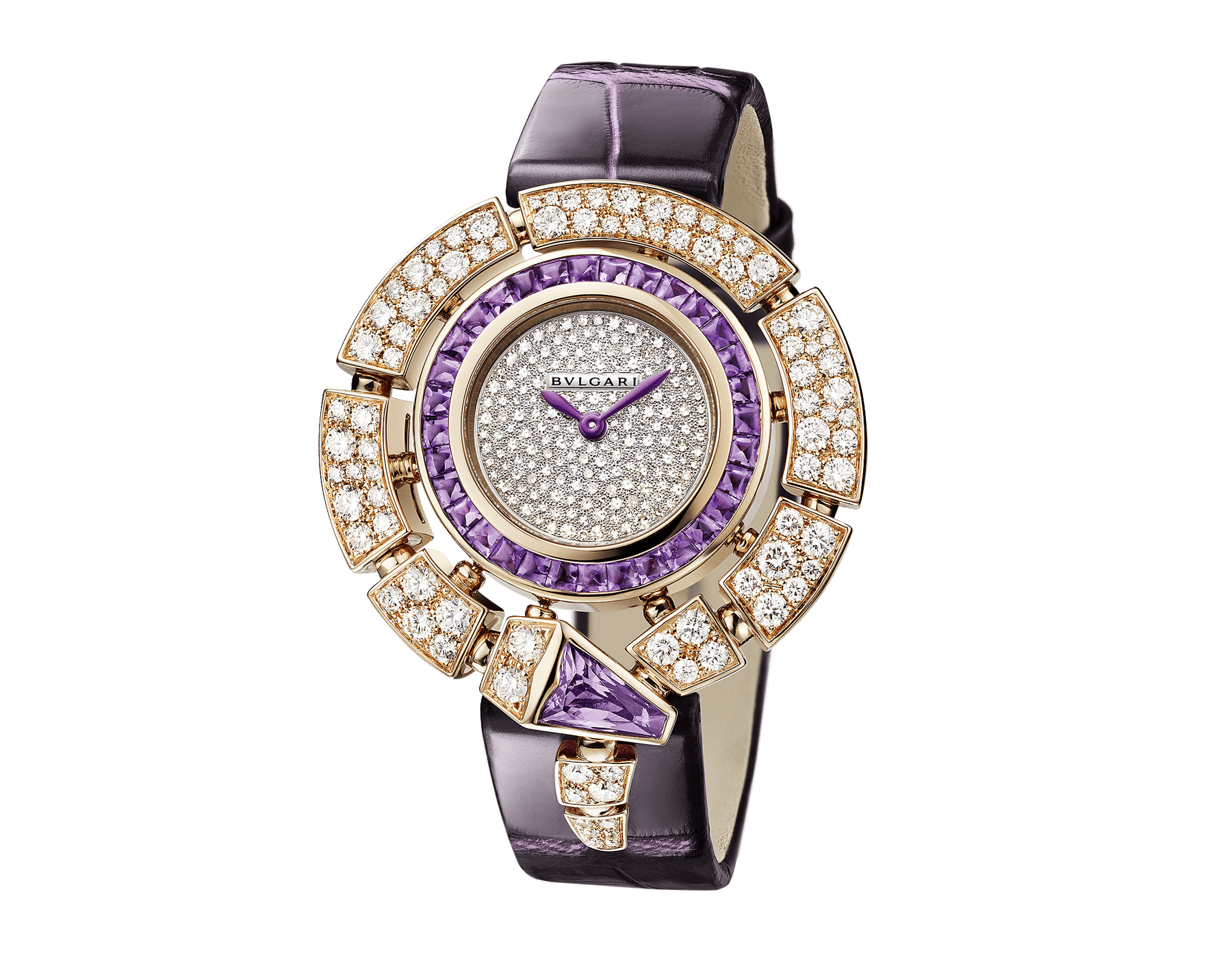 Serpenti Incantati watch with 18 kt rose gold case set with round brilliant-cut diamonds and a fancy-shaped amethyst, 18 kt rose gold bezel set with buff-cut amethysts, snow pavé dial and purple alligator bracelet 103125 image 2
