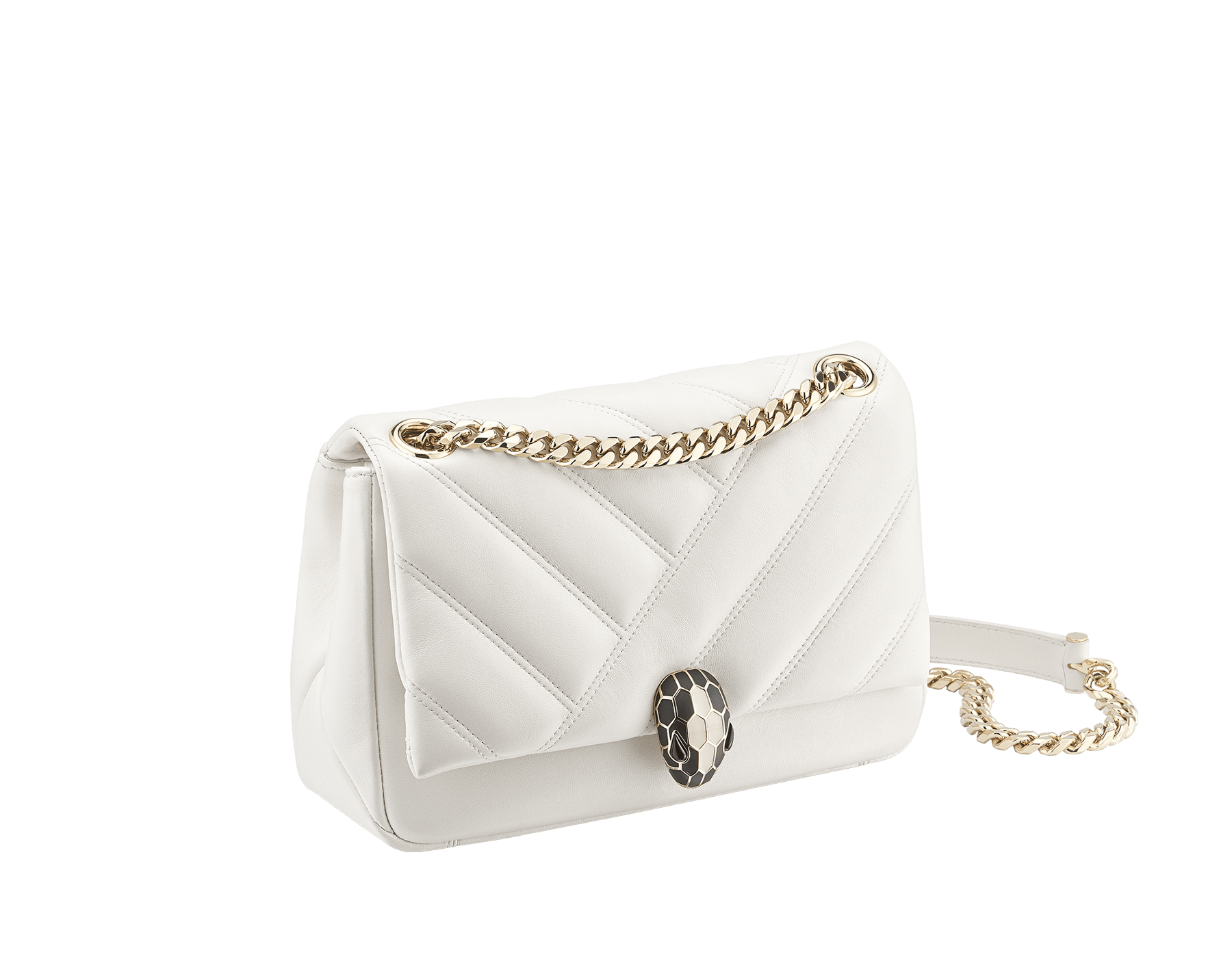 Serpenti Cabochon shoulder bag in soft matelassé white agate nappa leather with graphic motif and white agate calf leather. Snakehead closure in rose gold plated brass decorated with matte black and white enamel, and black onyx eyes. 287993 image 2