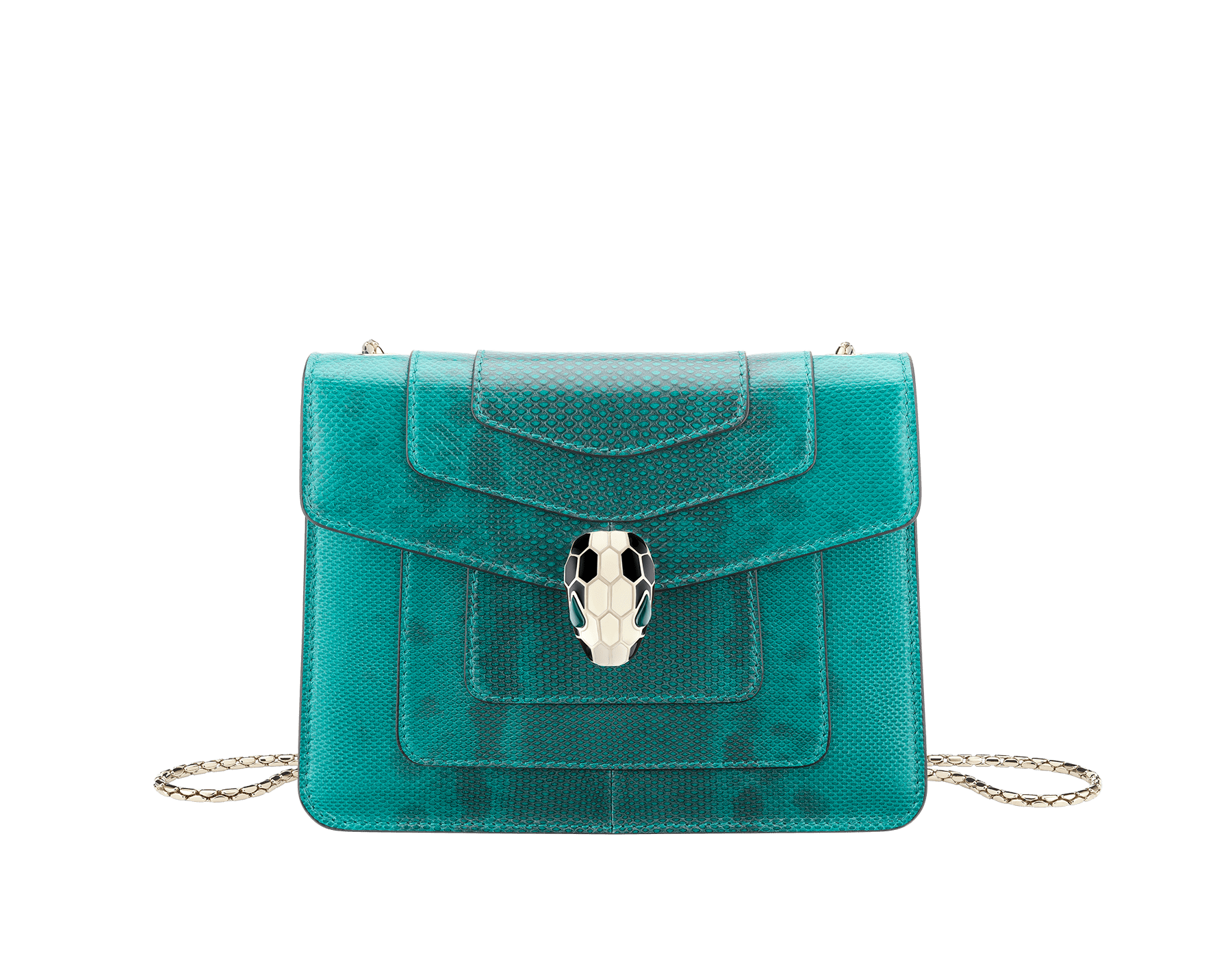Serpenti Forever crossbody bag in tropical turquoise shiny karung skin. Snakehead closure in light gold plated brass decorated with black and white enamel, and green malachite eyes. 287912 image 1
