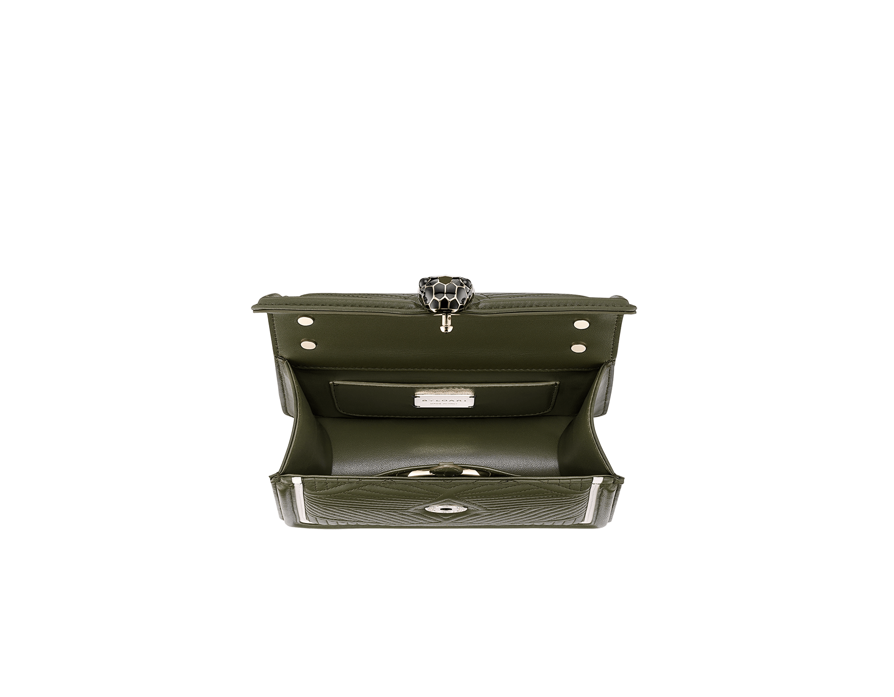 """Serpenti Diamond Blast"" top handle bag in mimetic jade quilted nappa leather and mimetic jade smooth calf leather frames. Iconic snakehead closure in light gold plated brass enriched with matte black and shiny mimetic jade enamel and black onyx eyes. 1063-FQD image 2"