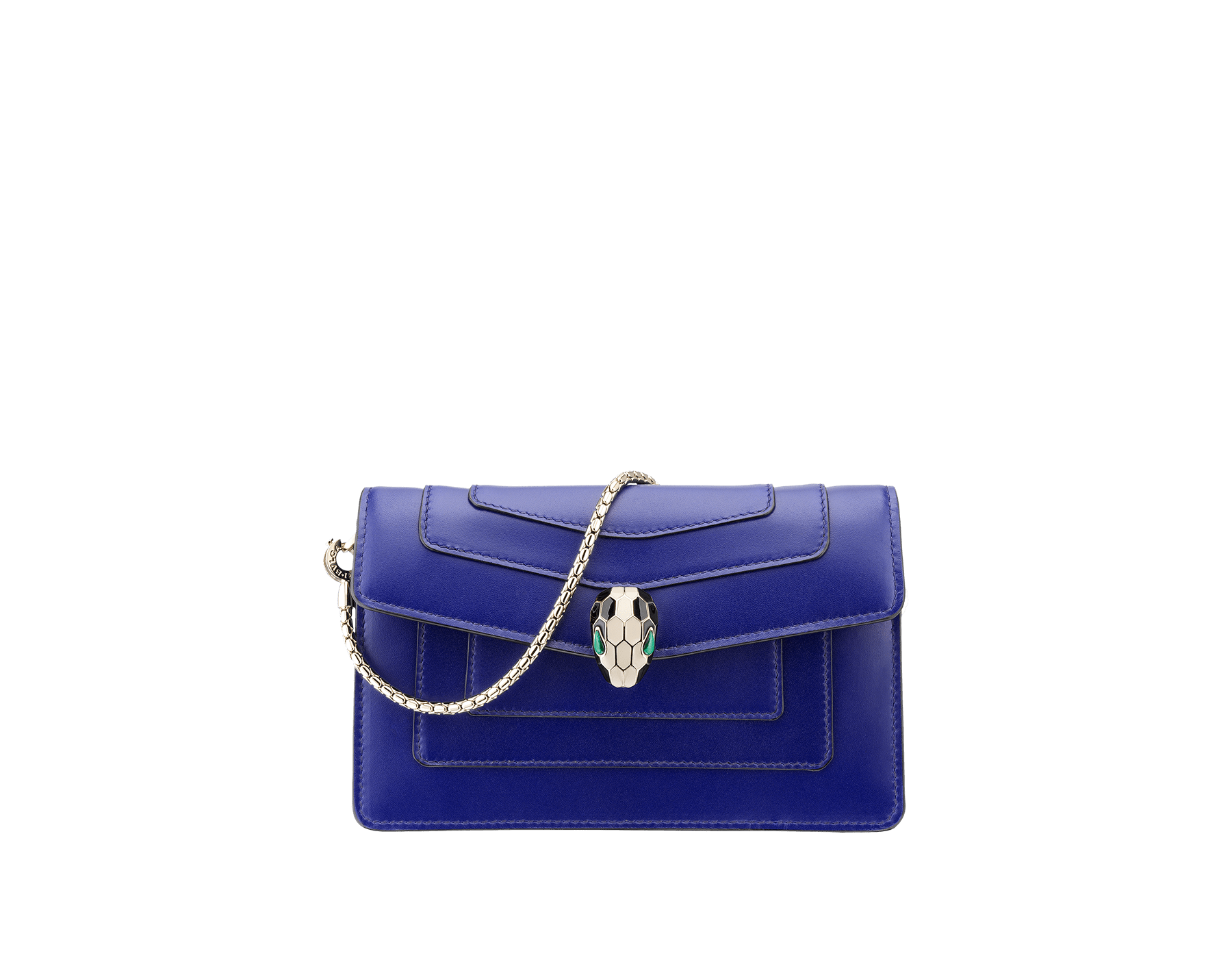 Mini Serpenti Forever bag in royal sapphire calf leather and teal topaz calf leather lining. Brass light gold plated Serpenti head stud closure in black and white enamel with malachite eyes. 283239 image 1