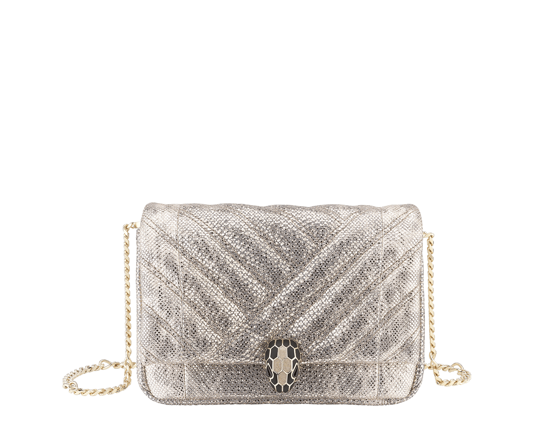 Serpenti Cabochon micro bag in soft matelassé milky opal metallic karung, with a graphic motif. Brass light gold plated tempting snake head closure in black and glitter milky opal enamel and black onyx eyes. 288807 image 1