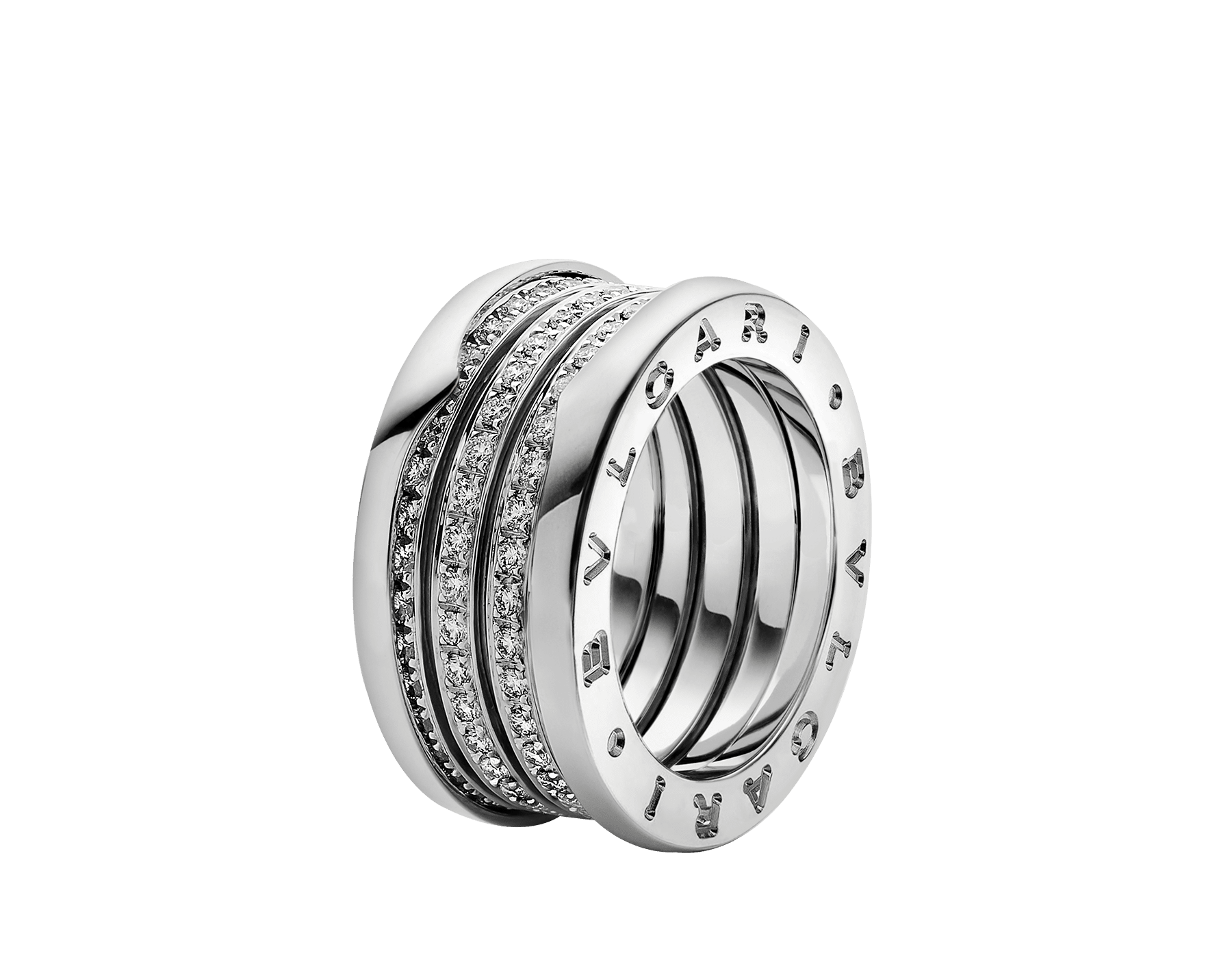 B.zero1 four-band ring in 18 kt white gold, set with pavé diamonds on the spiral. B-zero1-4-bands-AN850556 image 1