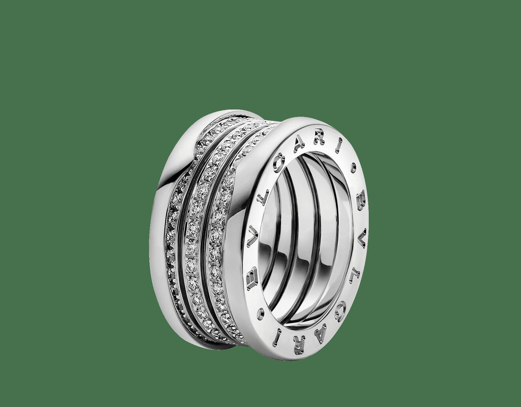 Fundindo o caráter ousado de suas curvas fluidas com a preciosidade de diamantes cravejados, o anel B.zero1 revela um espírito versátil e uma elegância contemporânea. B-zero1-4-bands-AN850556 image 1
