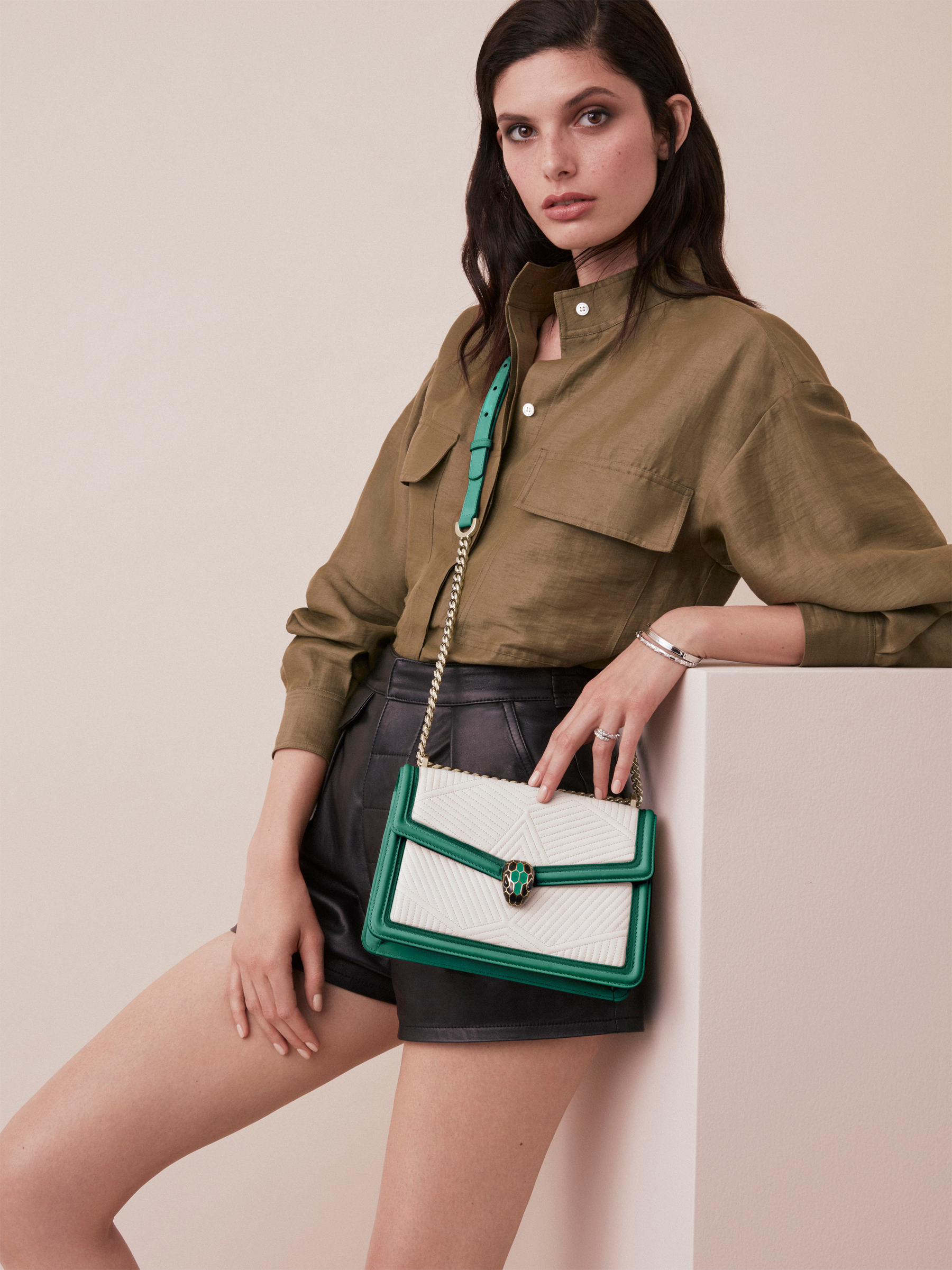 """Serpenti Diamond Blast"" shoulder bag in mimetic jade quilted nappa leather and mimetic jade smooth calf leather frames. Iconic snakehead closure in light gold plated brass enriched with matte black and shiny mimetic jade enamel and black onyx eyes. 922-FQDf image 5"