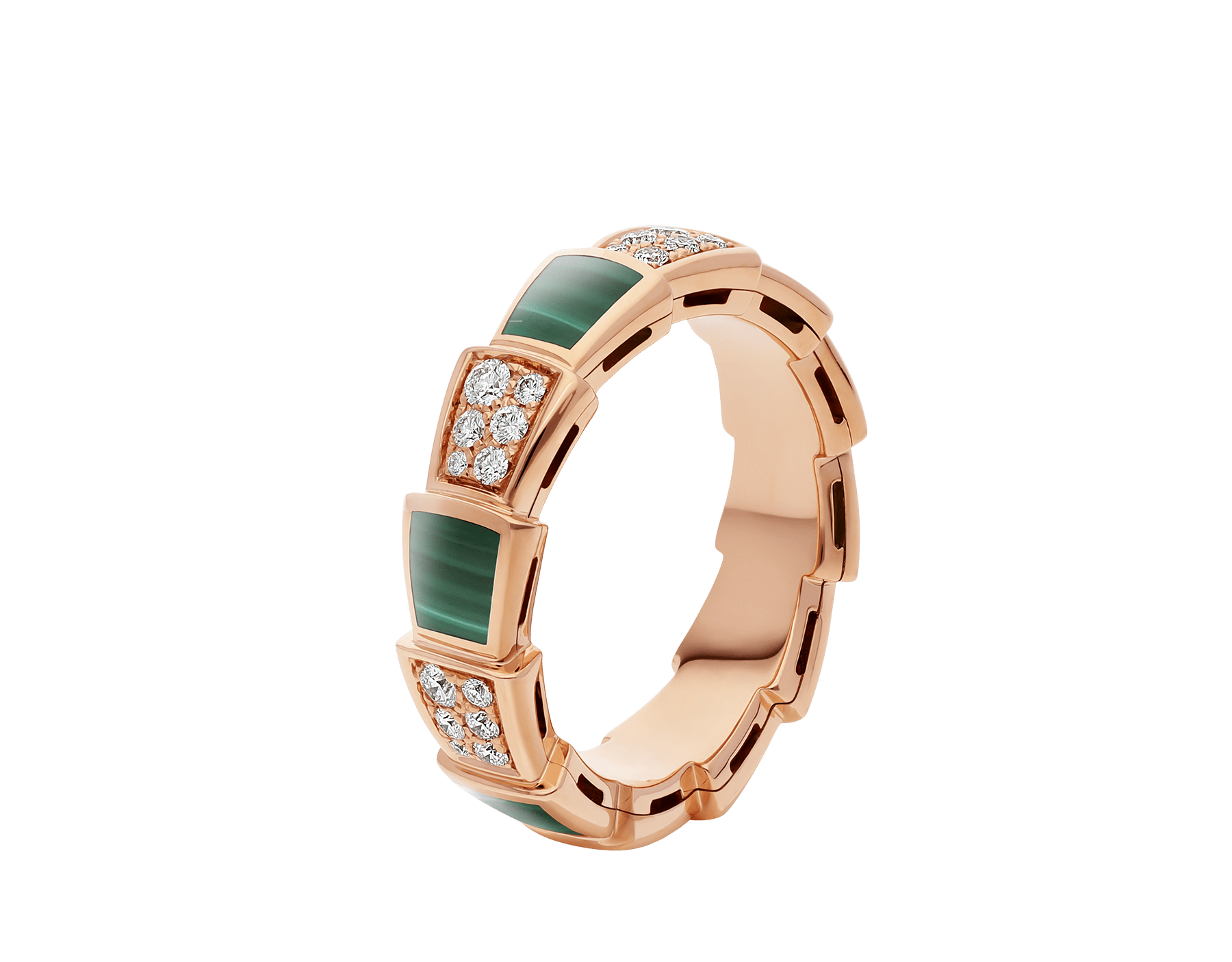 Serpenti Viper 18 kt rose gold ring set with malachite elements and pavé diamonds AN858203 image 1
