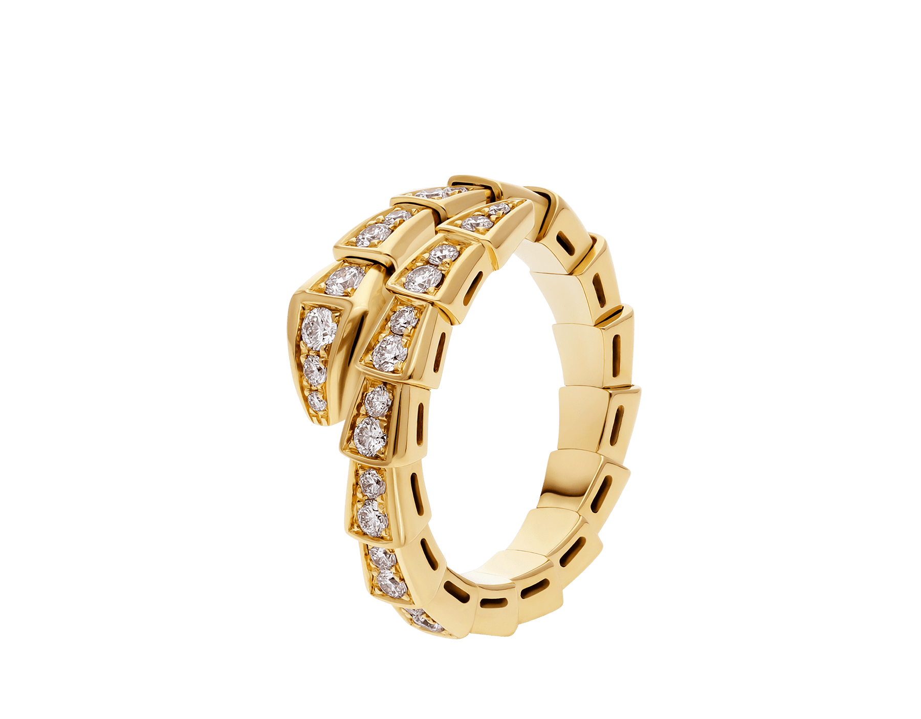 Serpenti Viper 18 kt yellow gold ring with pavé diamonds AN858981 image 1