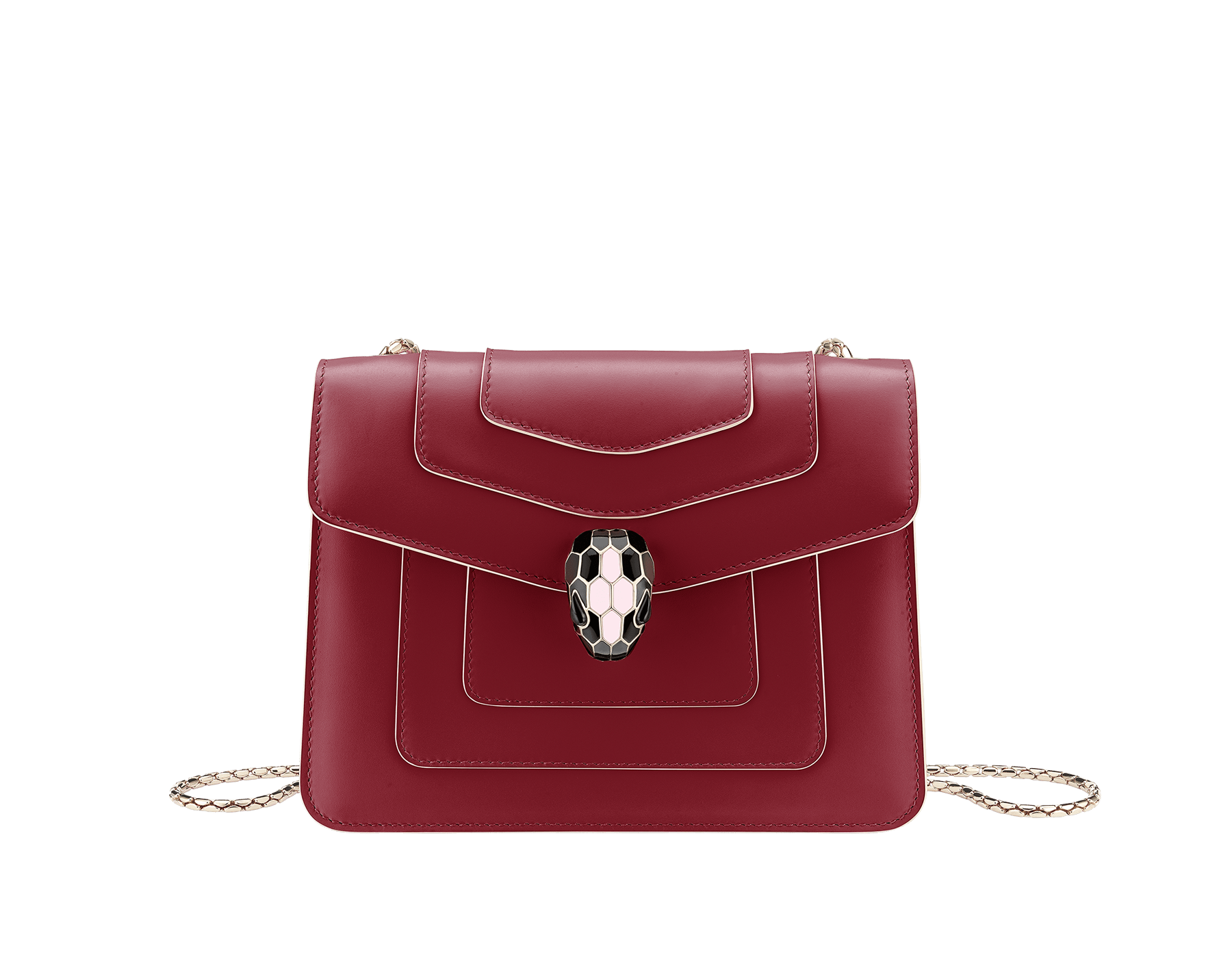 Serpenti Forever crossbody bag in Roman garnet calf leather, with rosa di francia calf leather sides. Iconic snakehead closure in light gold plated brass embellished with black and white enamel and green malachite eyes. 289035 image 3