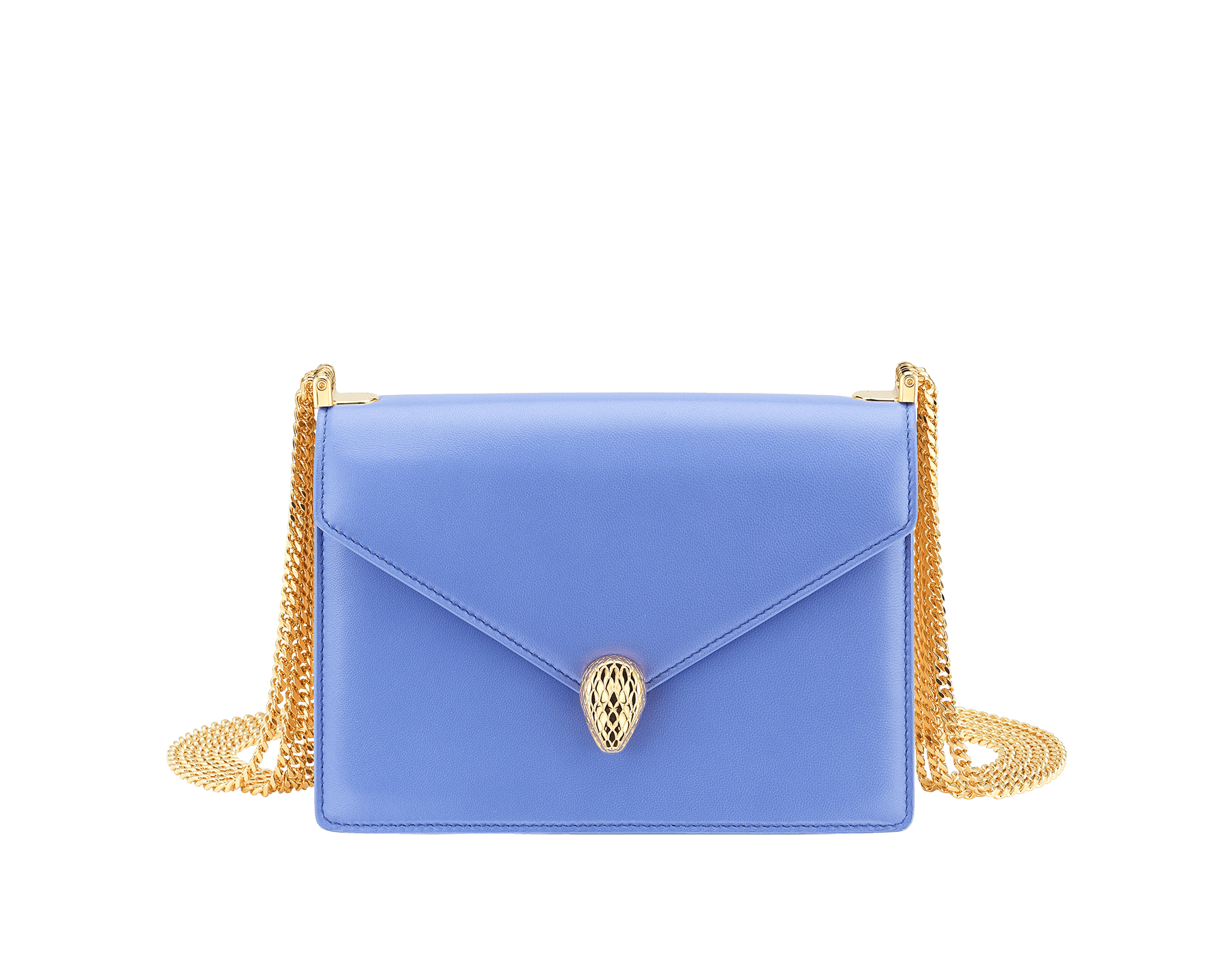 """Serpenti Forever"" multichain shoulder bag in peach ""Papier"" nappa leather, with Lavender Amethyst lilac nappa leather inner lining. New Serpenti head closure in gold-plated brass, finished with red enamel eyes. 1107-NP image 1"