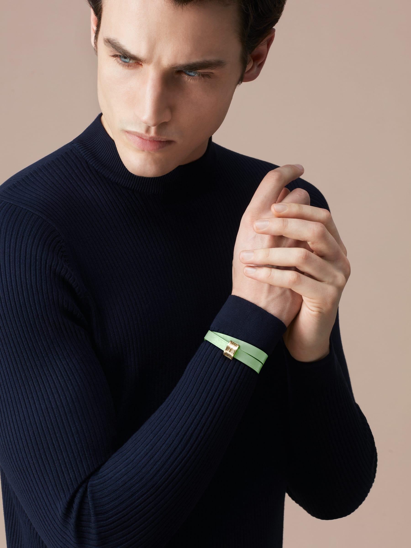 Браслет в два витка Bvlgari Bvlgari, кожа теленка мятно-зеленого цвета, застежка-кнопка B.Zero1 из латуни с покрытием из светлого золота. BZERO1-CL-M image 3