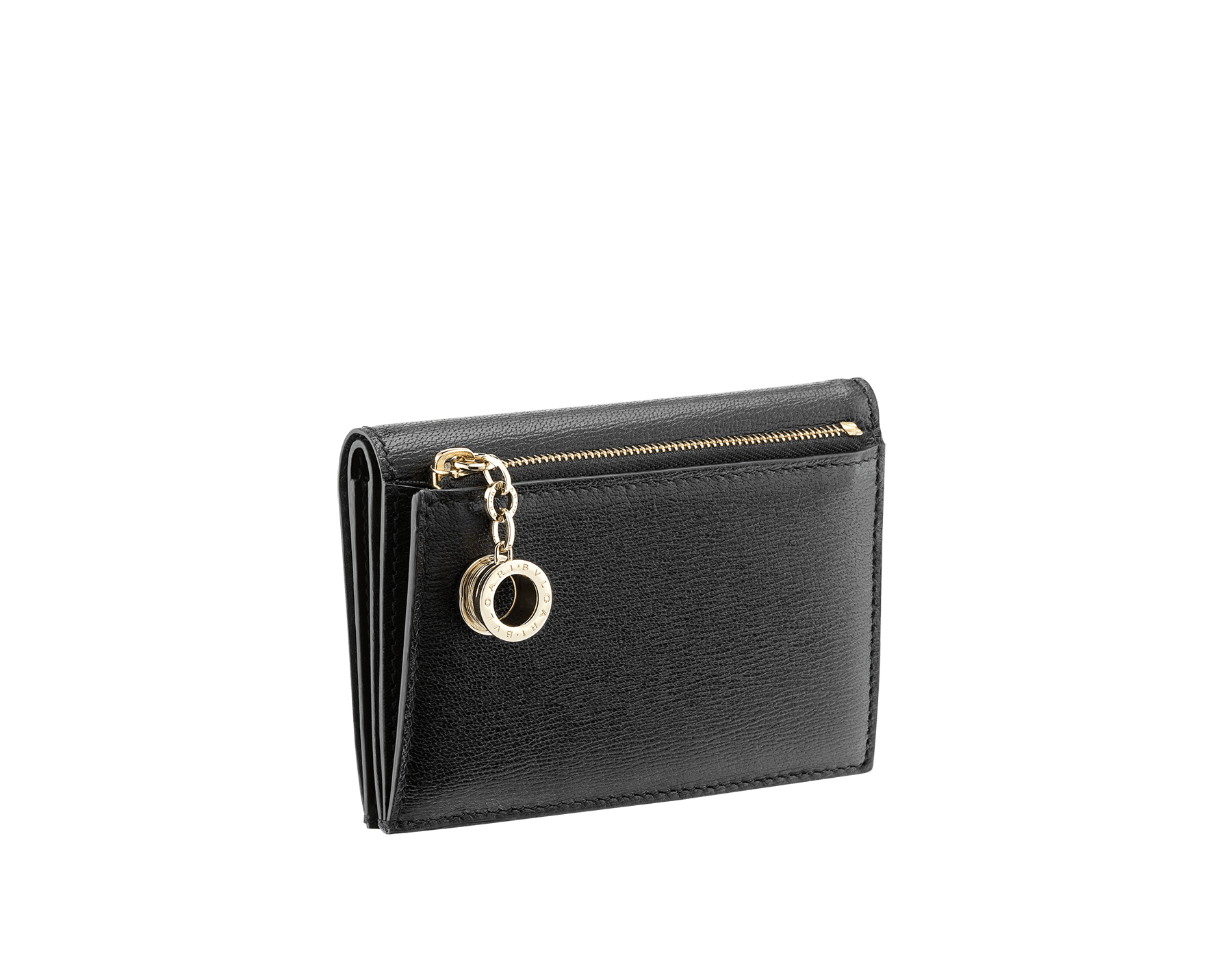 B.zero1 double folded credit card holder in black goatskin. Iconic B.zero1 charm in light gold plated brass. 289150 image 3