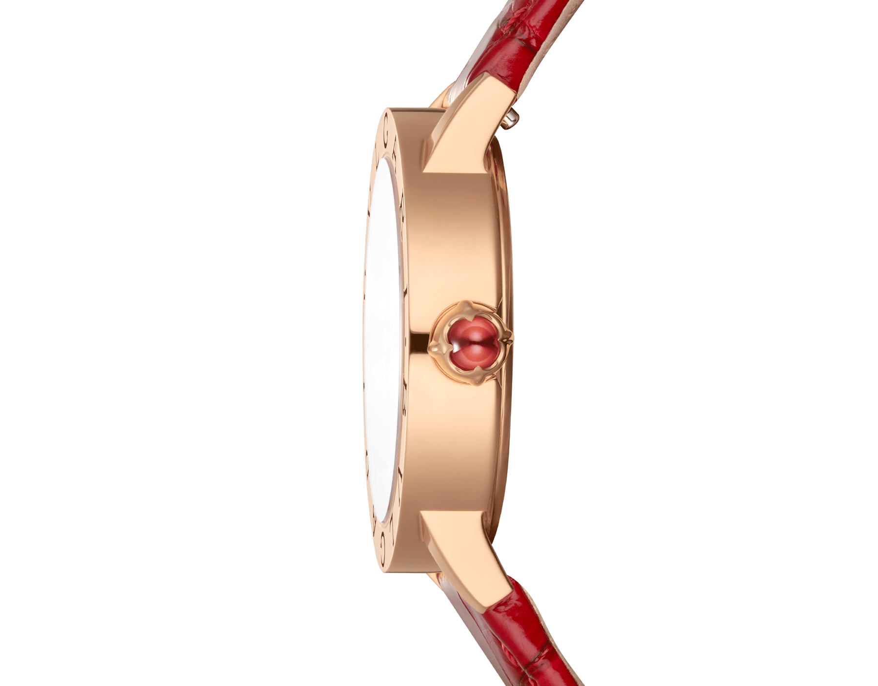 BVLGARI BVLGARI watch with 18 kt rose gold case, white mother-of-pearl dial, diamond indexes and shiny red alligator bracelet 102750 image 3