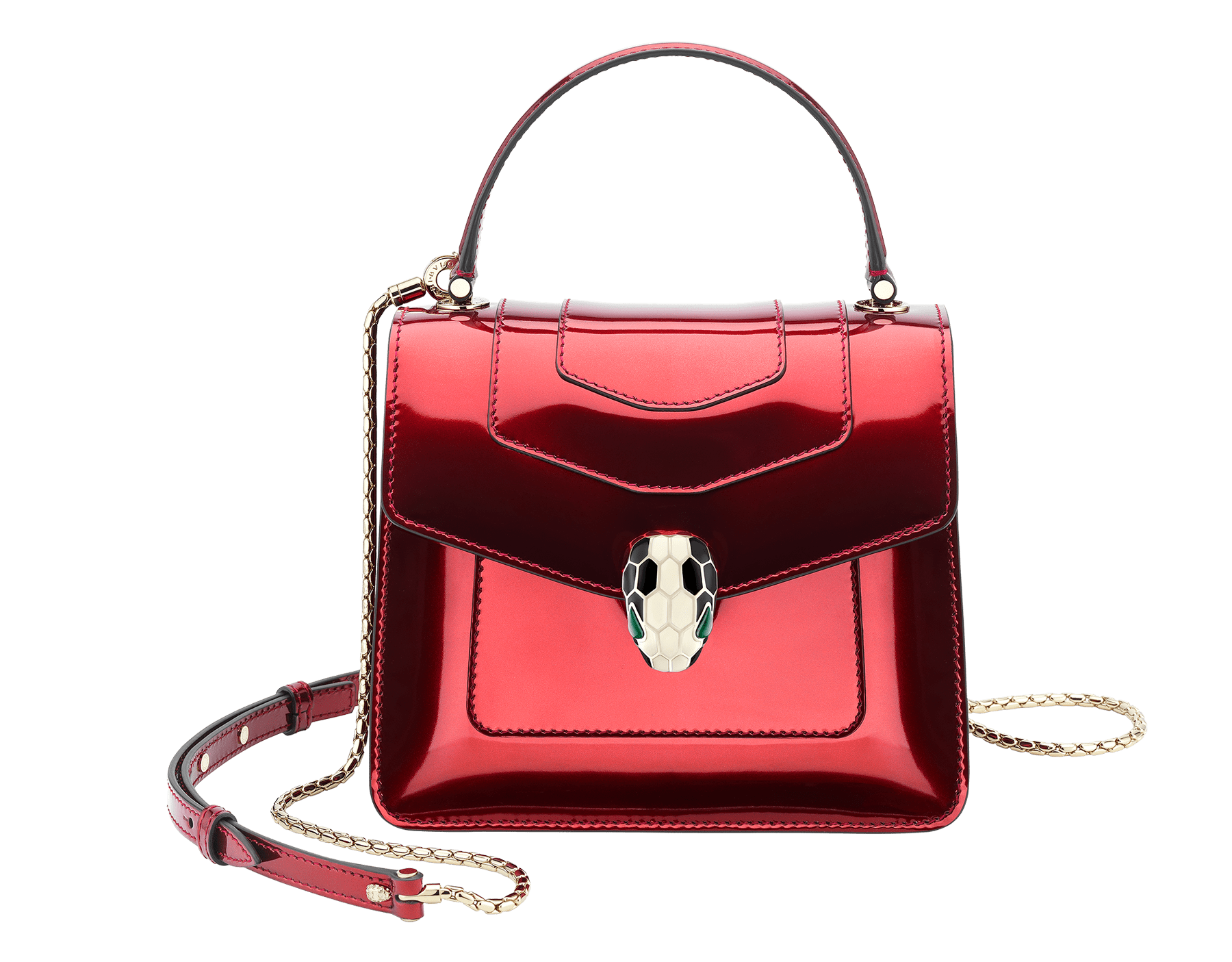 """Serpenti Forever"" crossbody bag in roman garnet brushed metallic calf leather. Iconic snakehead closure in light gold plated brass enriched with black and white enamel and green malachite eyes. 287955 image 1"