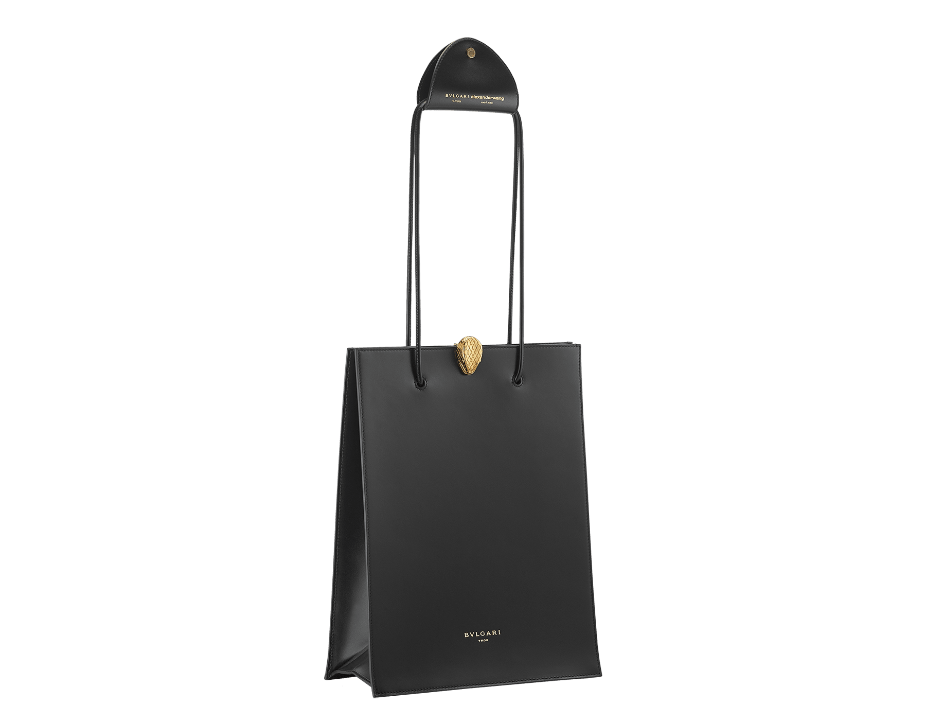 Alexander Wang x Bvlgari shopping tote bag in smooth black calf leather. New Serpenti head closure in antique gold plated brass with tempting red enamel eyes. Limited edition. 288733 image 2