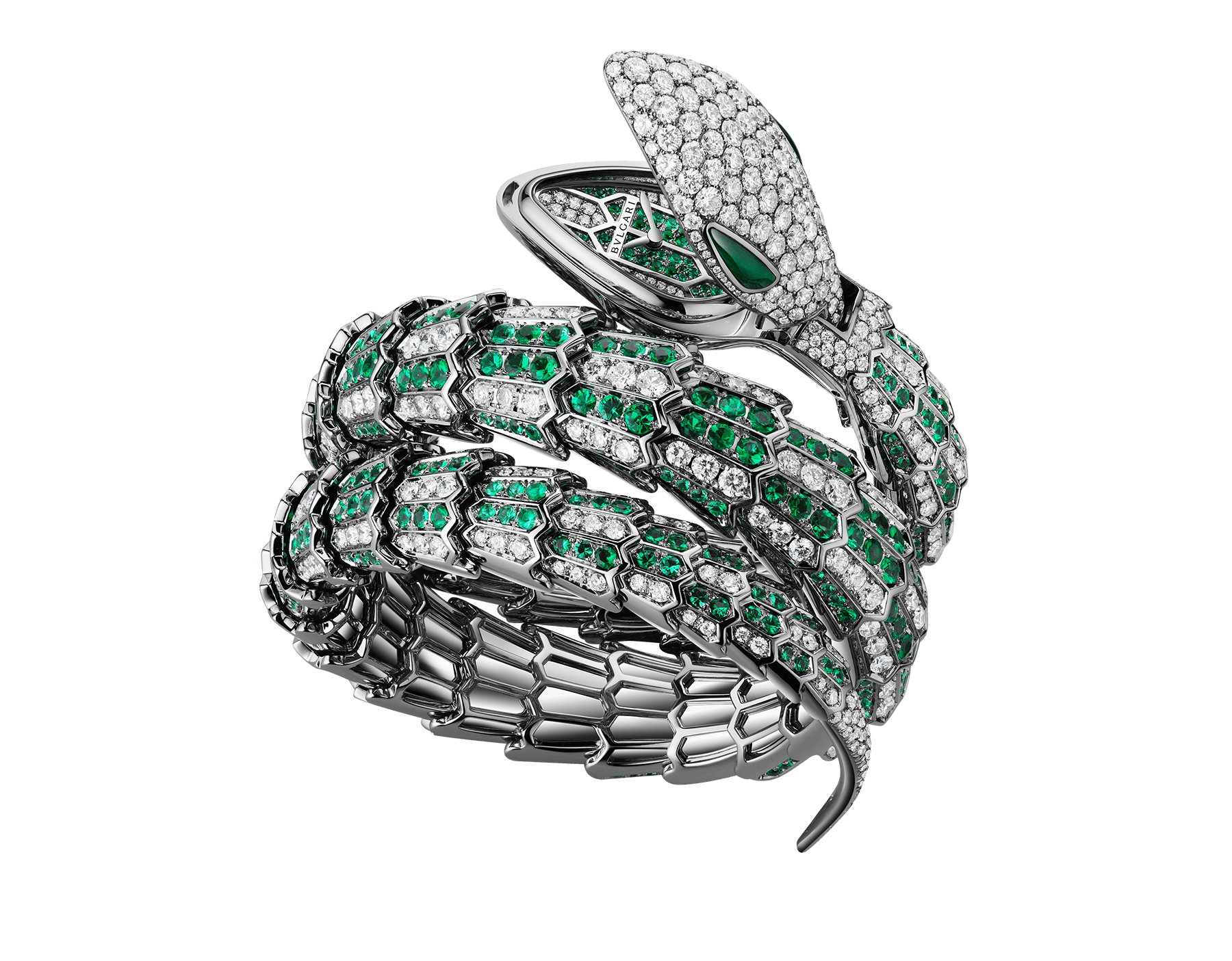 Serpenti Secret Watch with 18 kt white gold head set with brilliant cut diamonds and malachite eyes, 18 kt white gold case, 18 kt white gold dial and double spiral bracelet, both set with brilliant cut diamonds and brilliant cut emeralds. 101902 image 1
