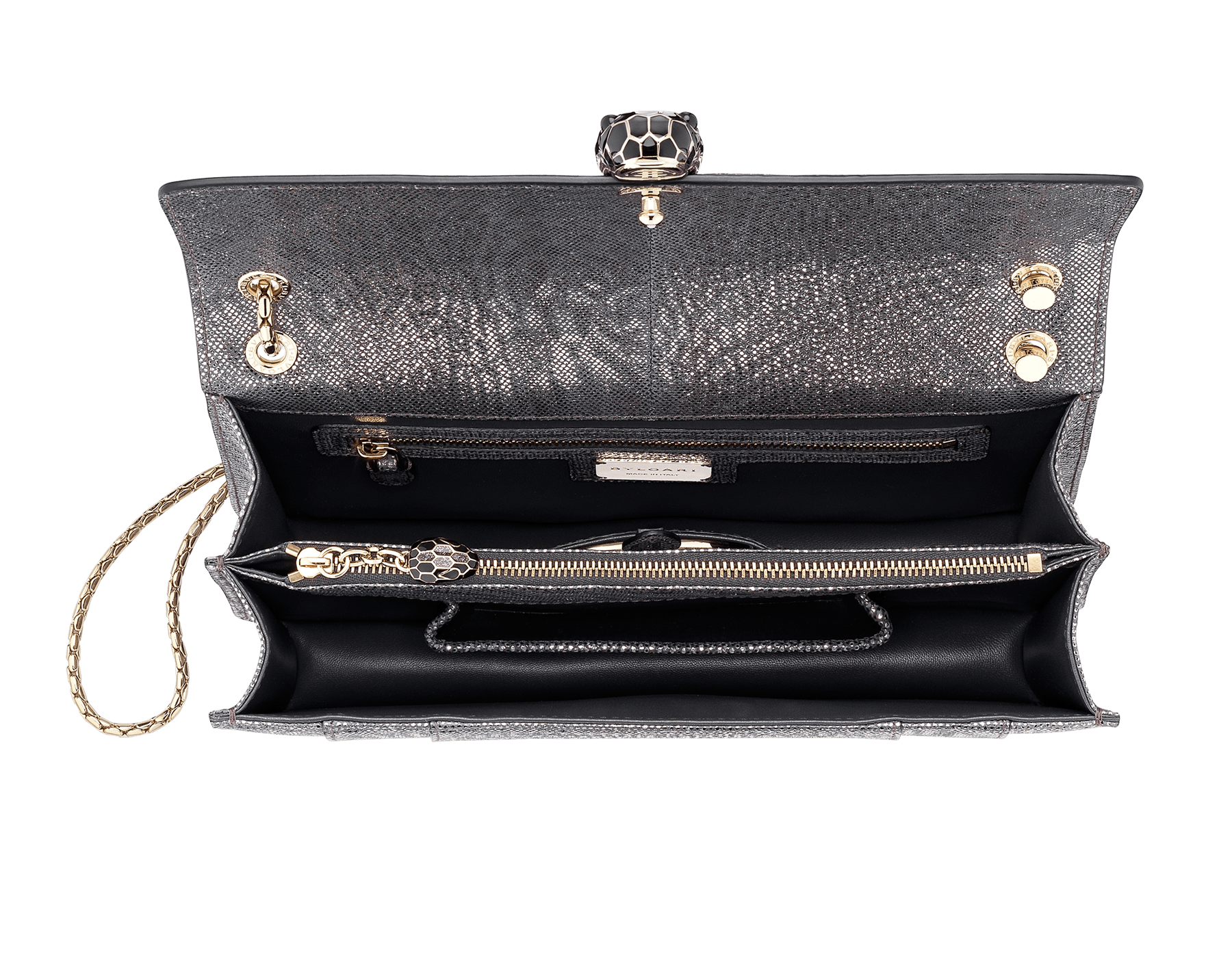 Flap cover bag Serpenti Forever in metallic silver karung skin. Brass light gold plated tempting snake head closure in shiny black and glitter silver enamel, with eyes in black onyx.  521-MK image 4