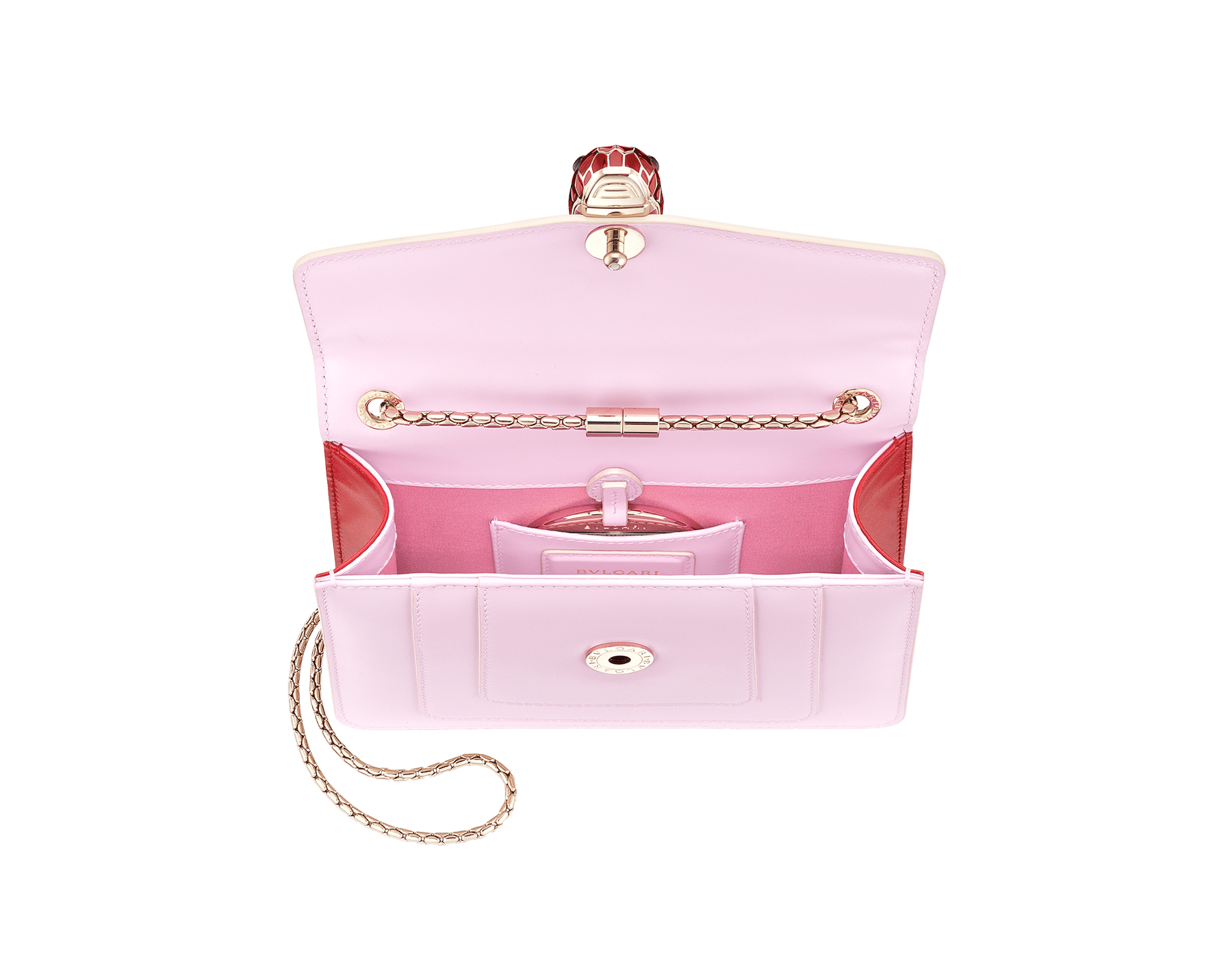 Serpenti Forever crossbody bag in sea star coral smooth calf leather body and milky opal calf leather sides. Snakehead closure in light gold plated brass decorated with milky opal and black enamel, and black onyx eyes. 422-BCLa image 4