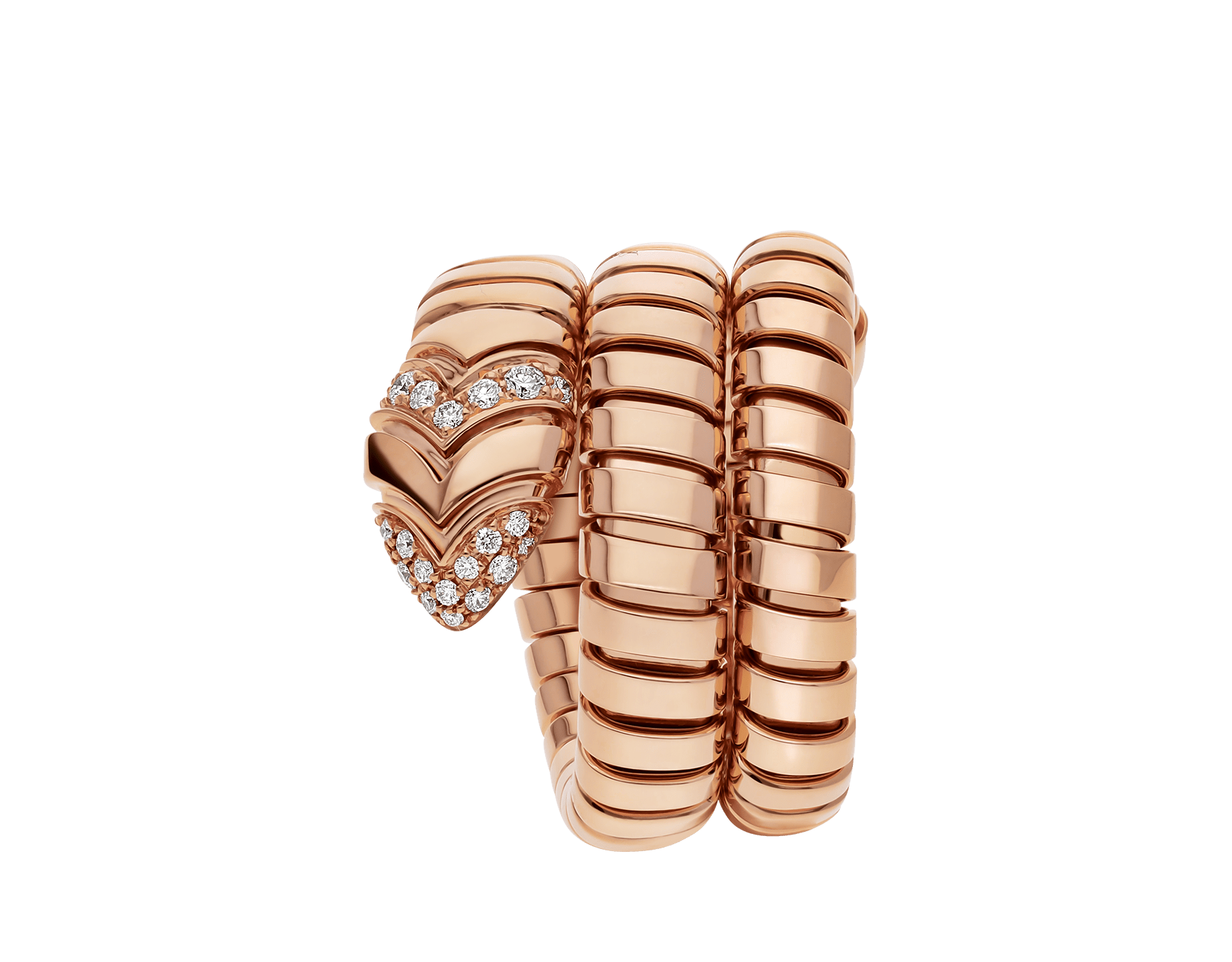 Serpenti Tubogas double spiral ring in 18 kt rose gold, set with pavé diamonds on the tail and the head. AN856571 image 2
